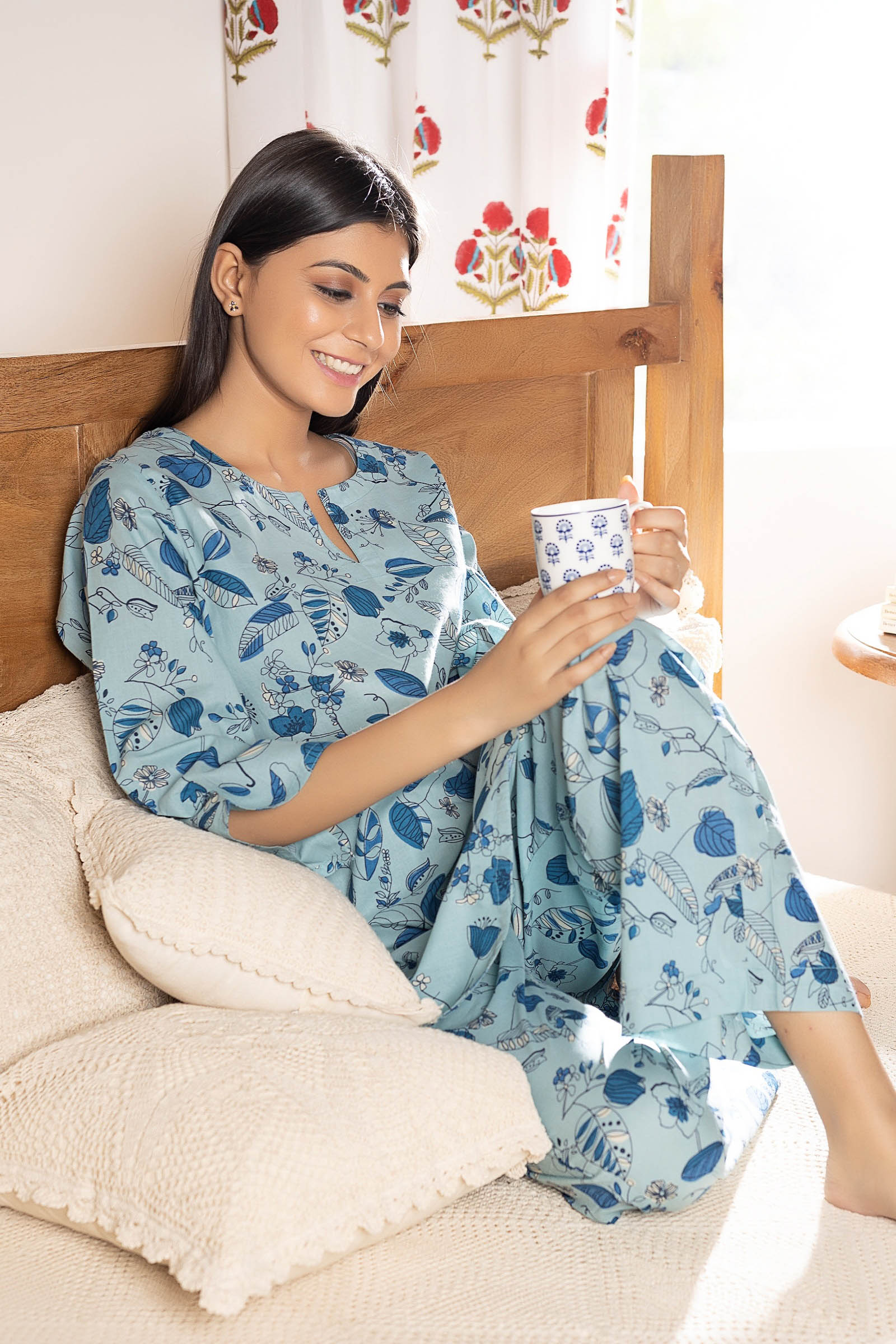 Vision Of Blue Cotton Night Suit