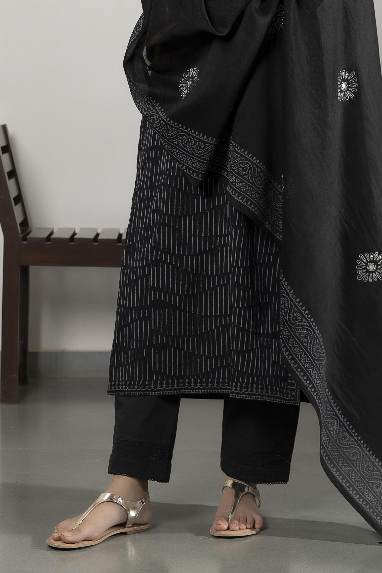 Black Lace 40 Cotton Cigarette Pant