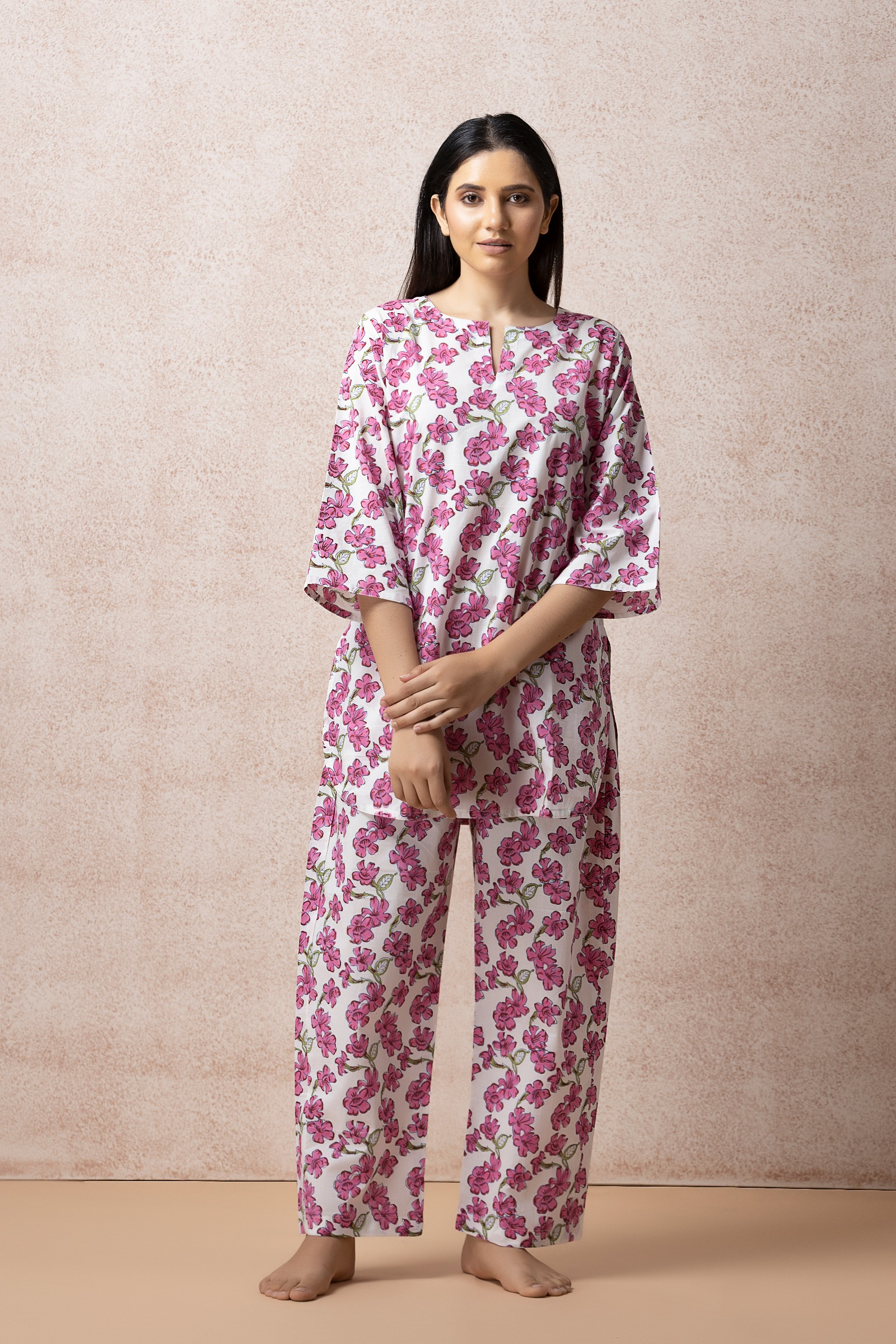 Pink Think Cotton Night Suit
