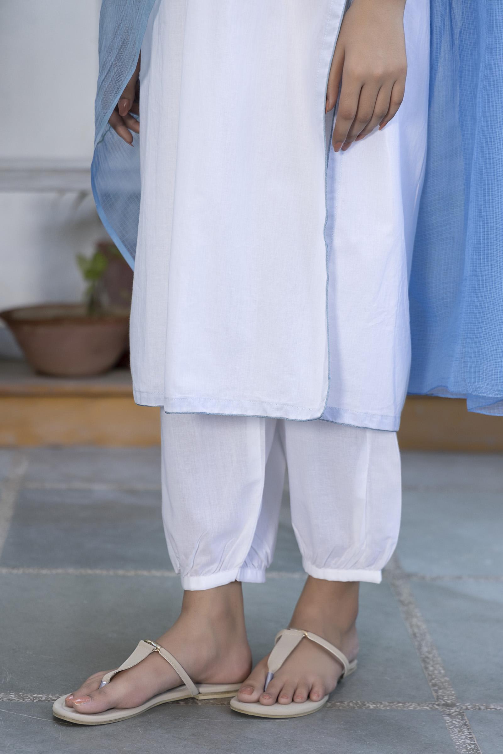 Plain White Cotton Afghani Pant