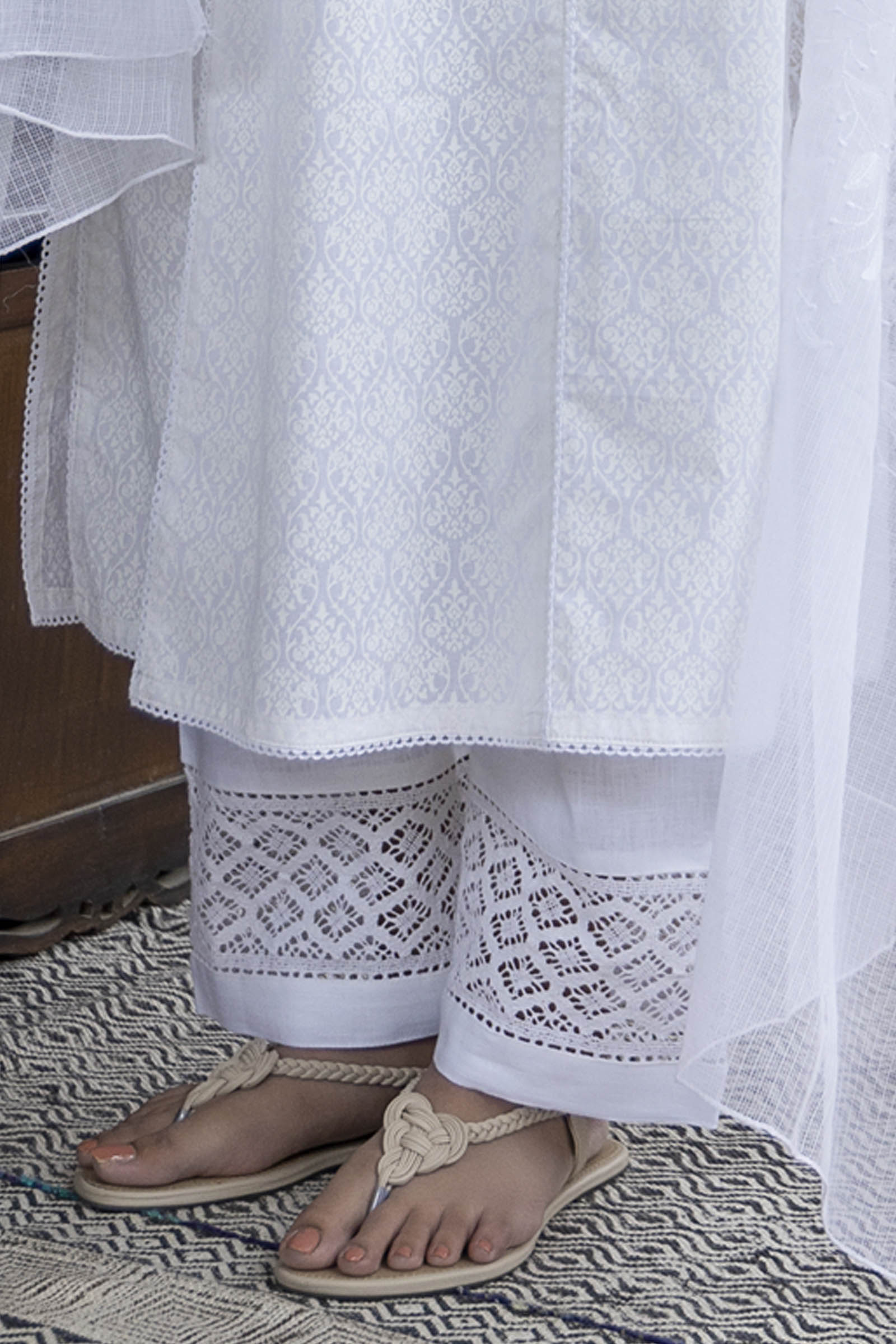 White Lace Linen Pant