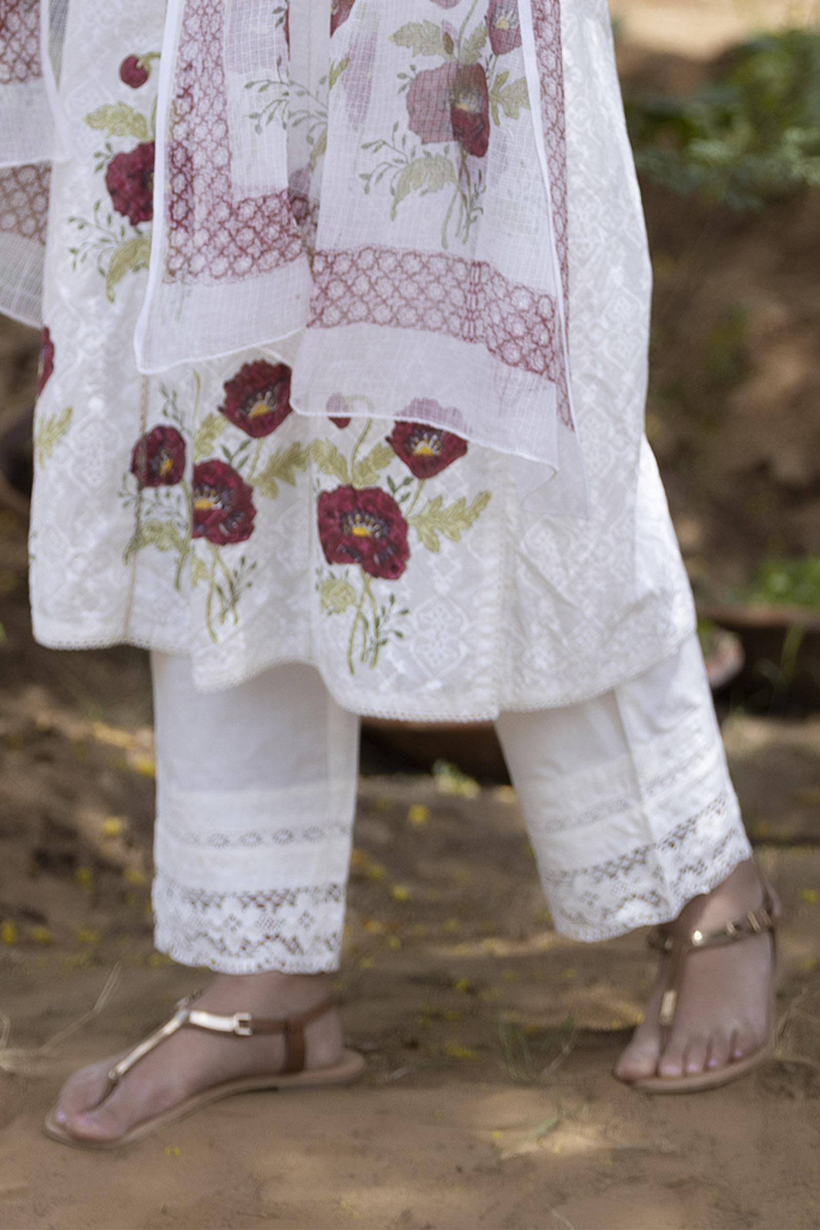 Cream Lace-40 (2) Cotton Straight Pant