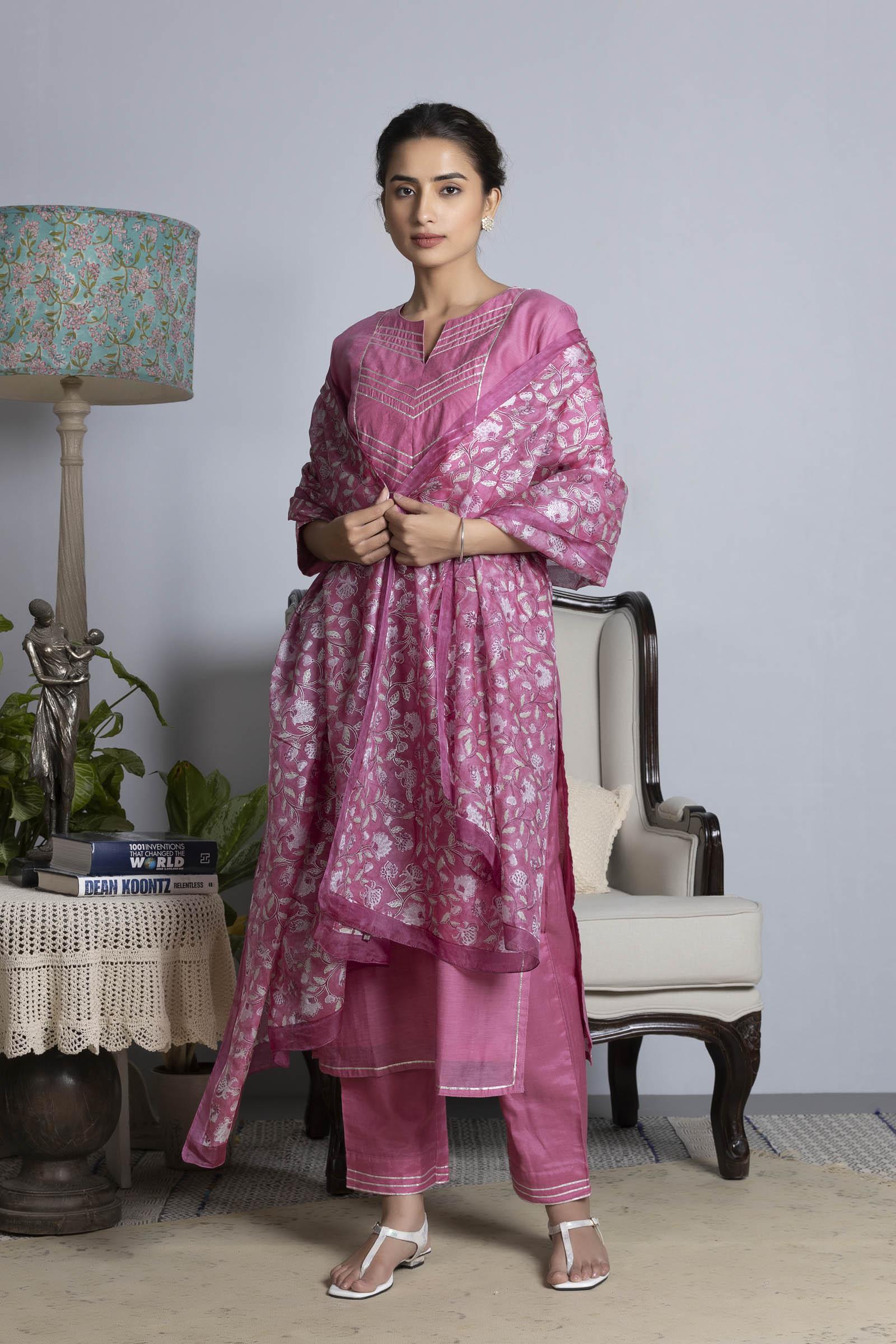 Warm Pink Printed Silk Dupatta