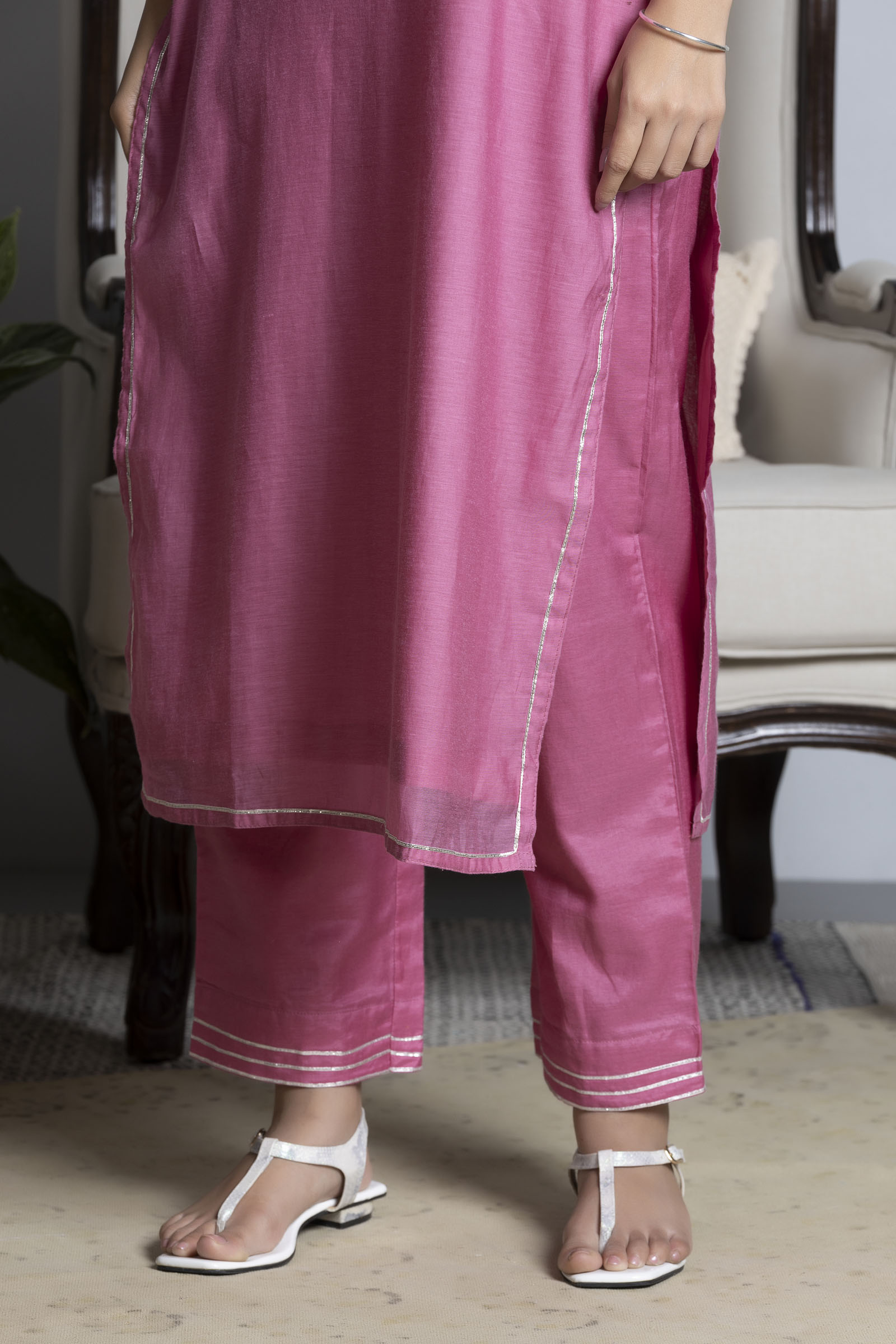 Warm Pink Chanderi Cigarette Pant
