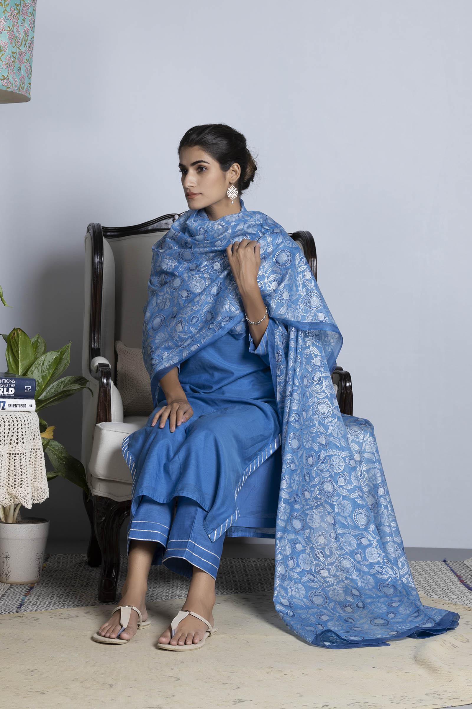 Iris Printed Silk Dupatta