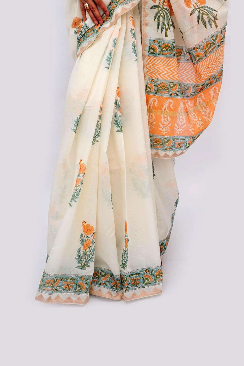 Buta print chanderi tissue applique