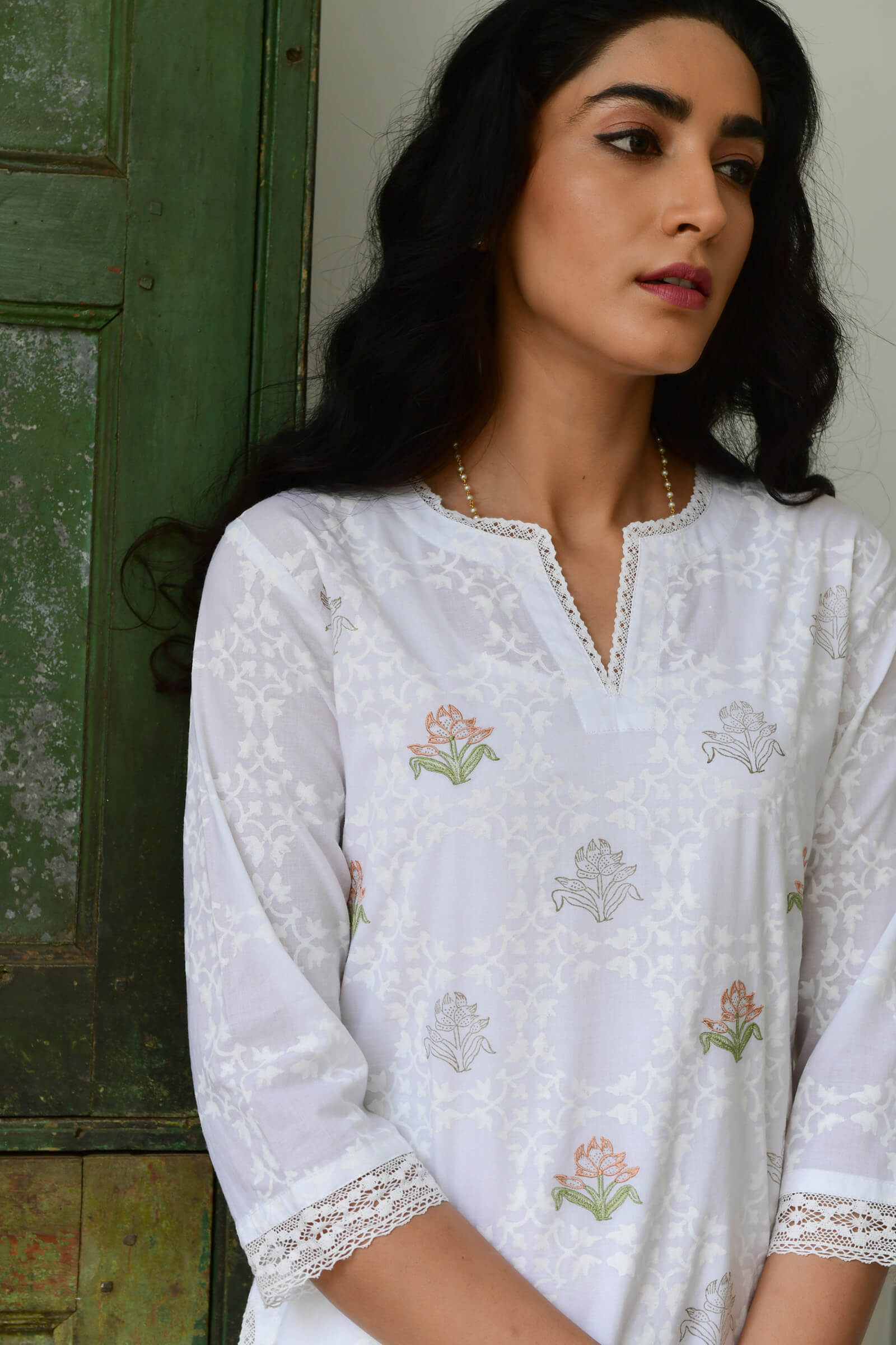 Suzani In White Kurta