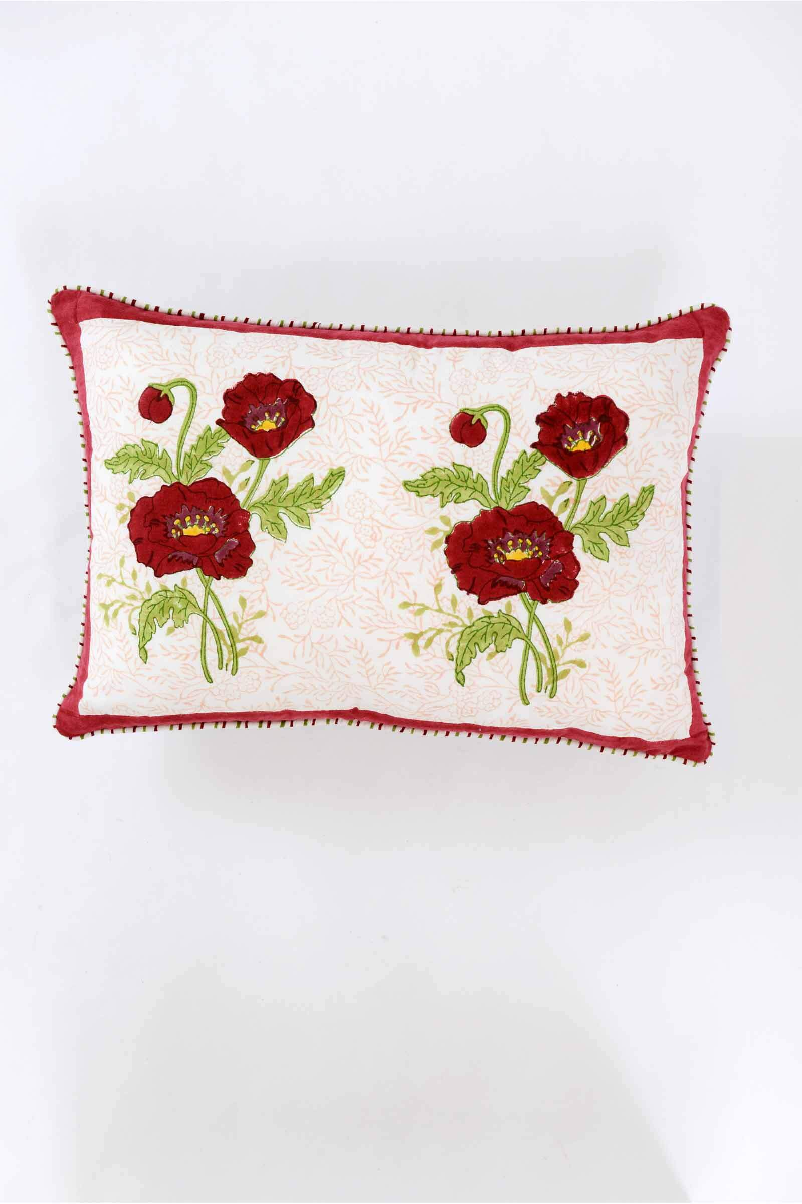 Red Poppies Two Buti Cushion Cover
