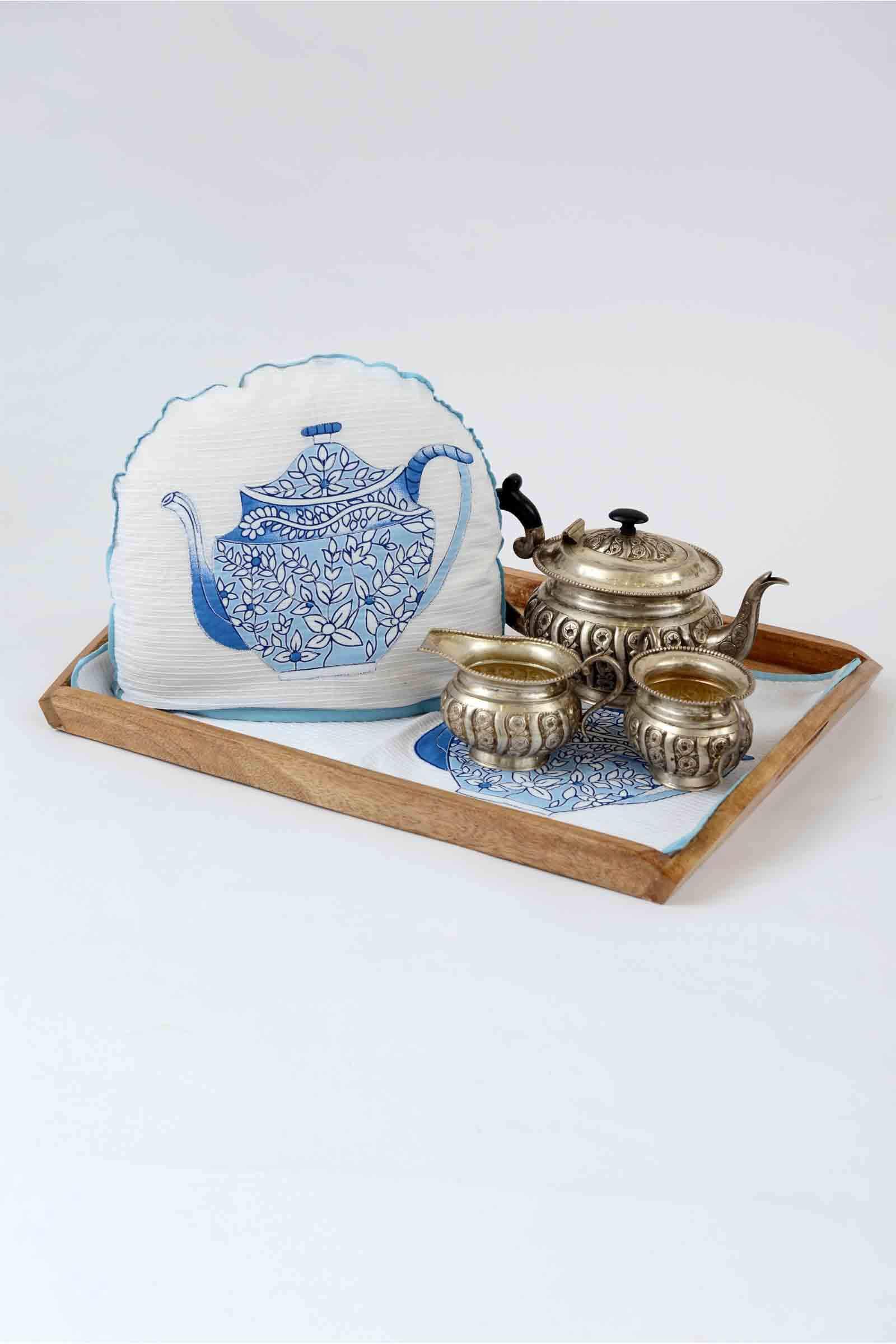 Tea cosy set blue