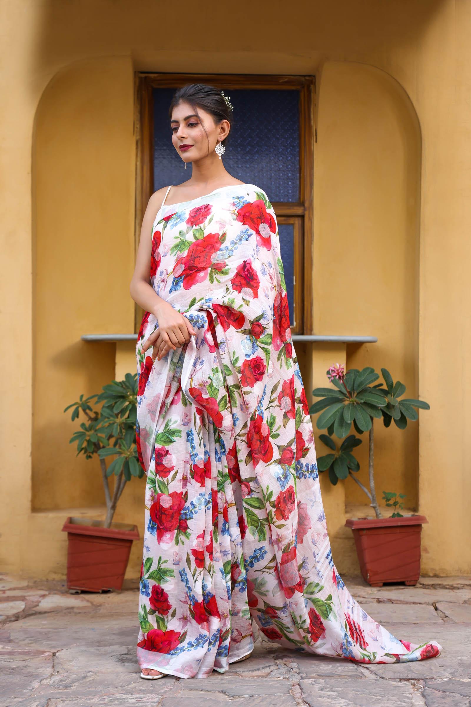 Red Roses Linen Saree