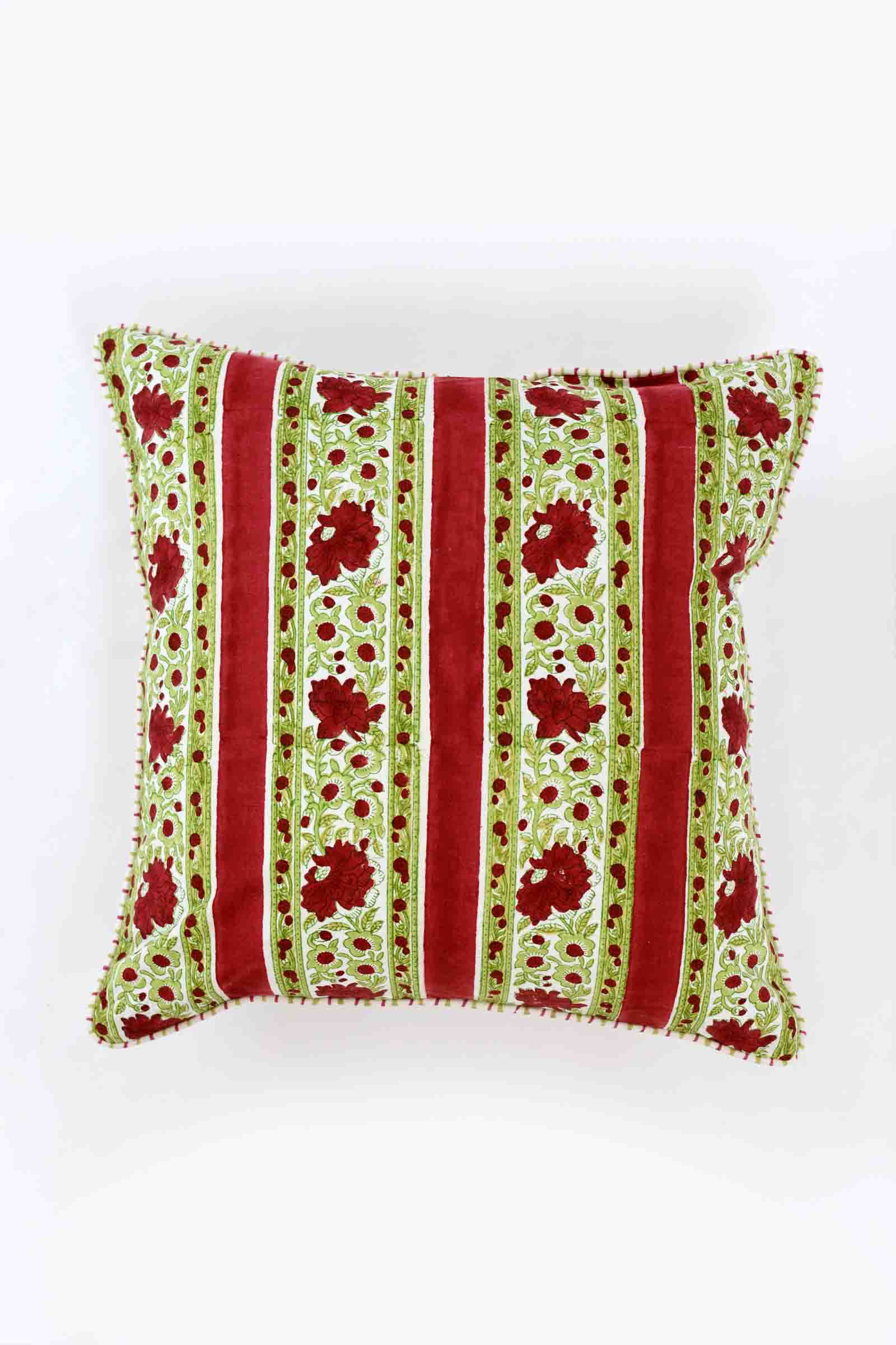 Red Poppies Border Cushion Cover