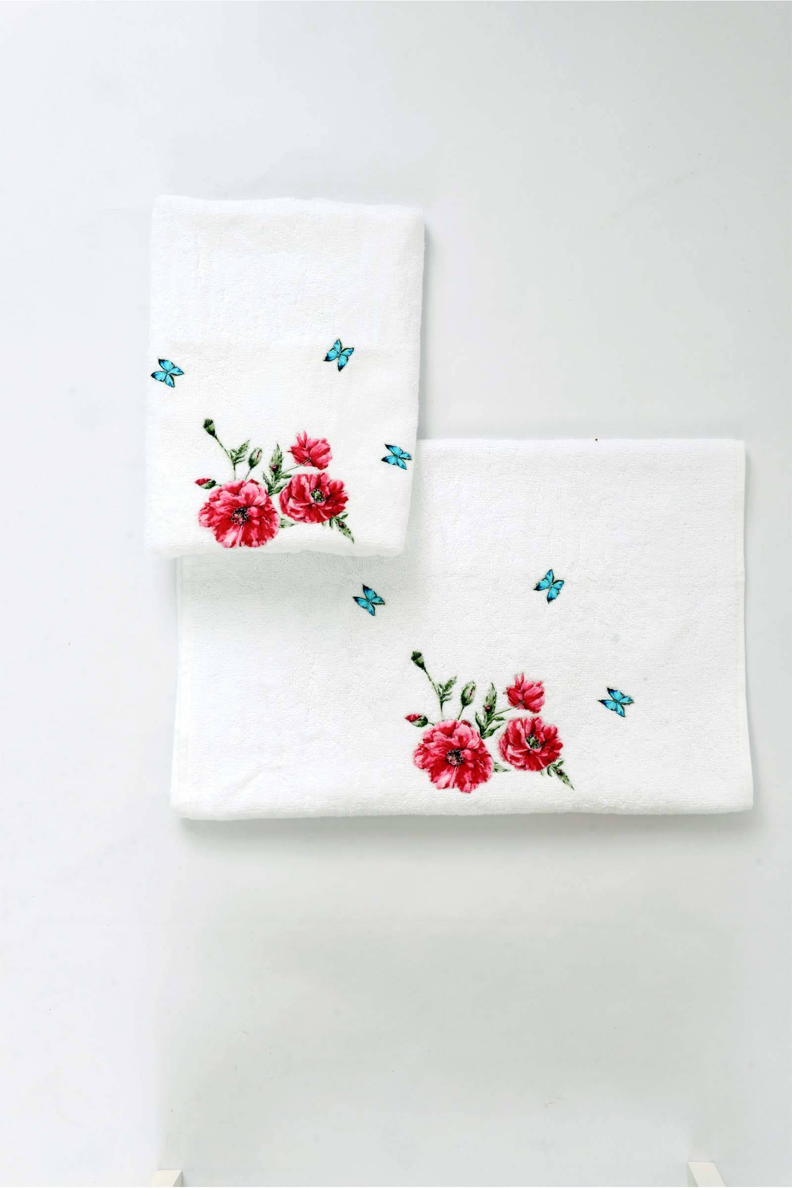 Blue butterfly hand towel (set of 2)