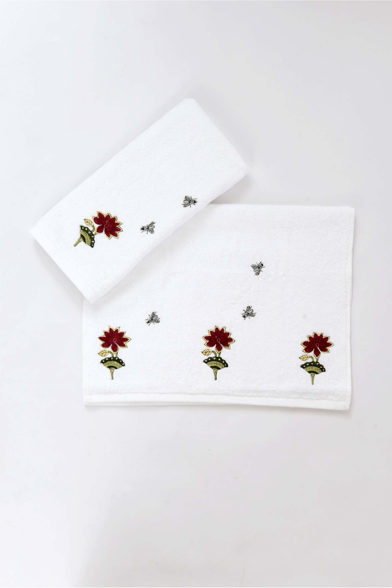 Scarlet bloom hand towel (set of 2)