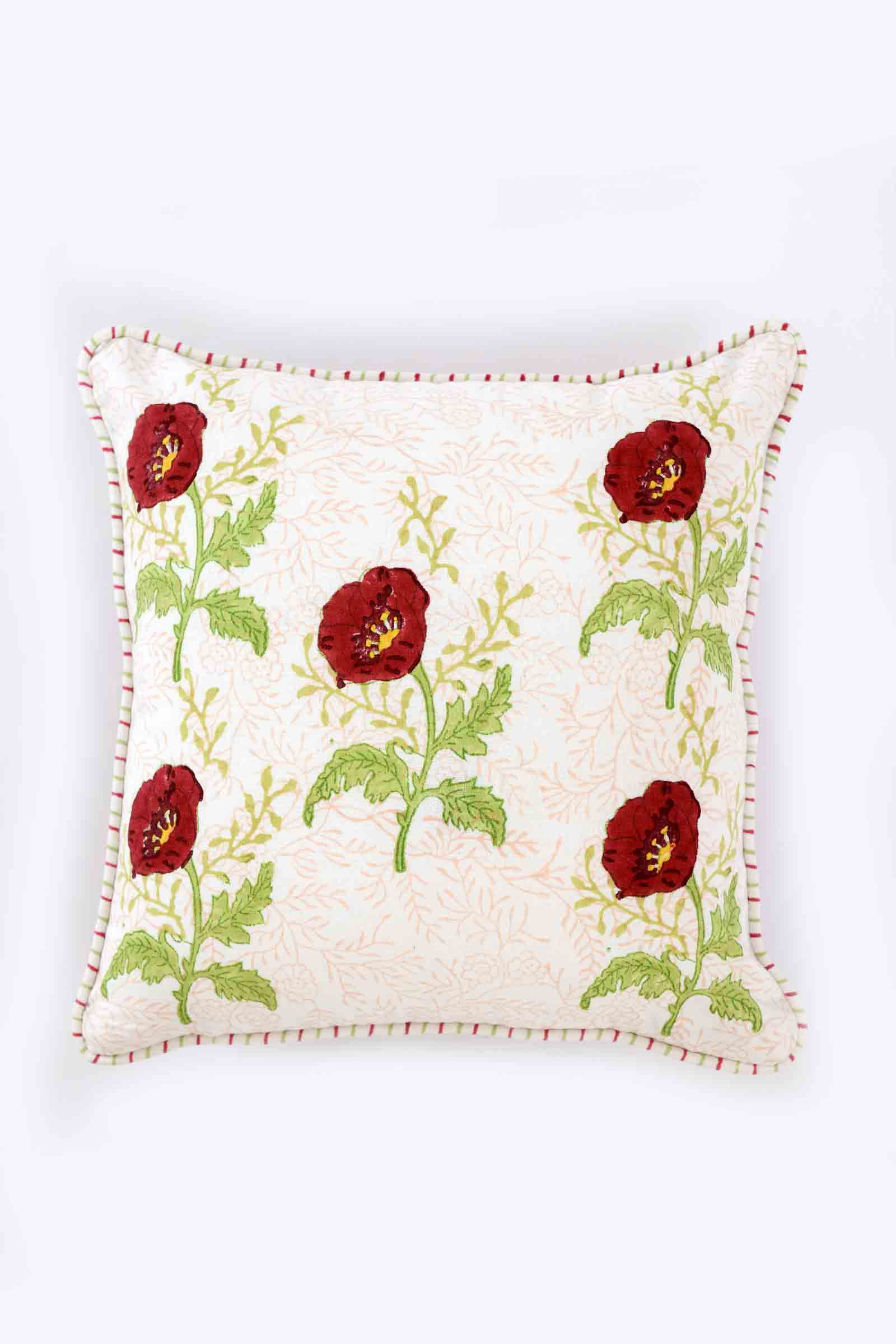 Red Poppies Five Buti Cushion Cover