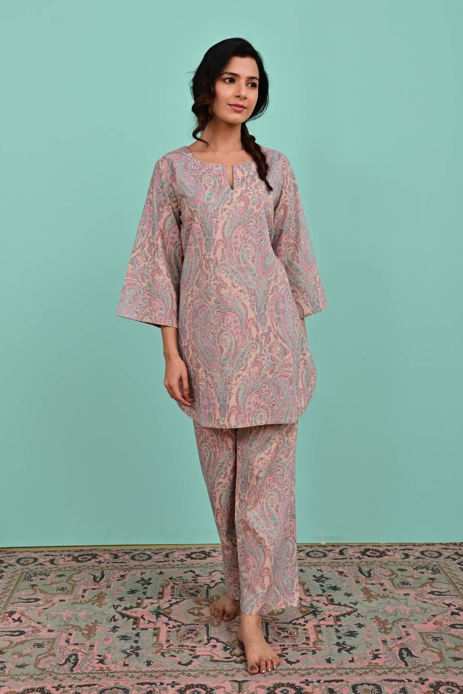 Aqua Swirl Cotton  Night Suit