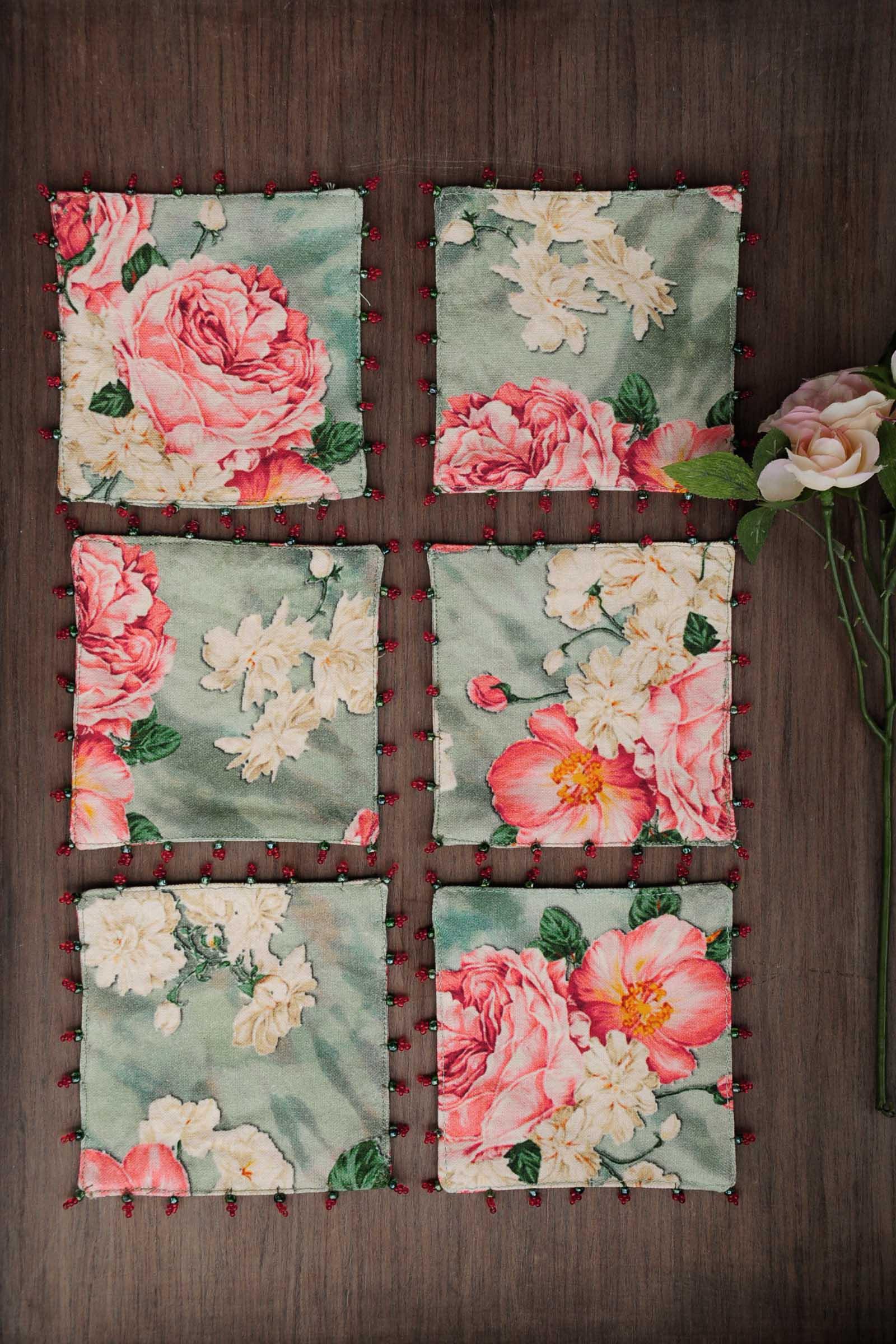 Pink Rose chintz coaster set of 6