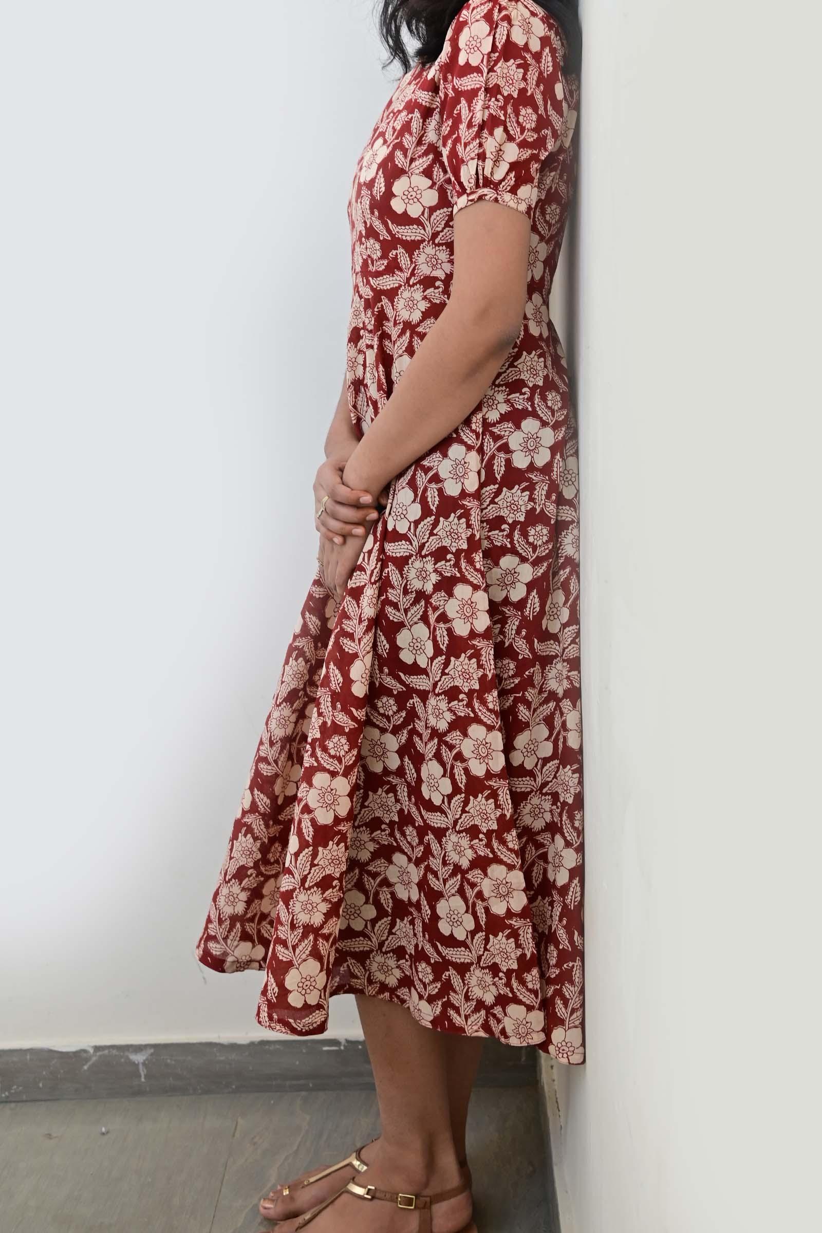 Bagru Red Cotton Dress