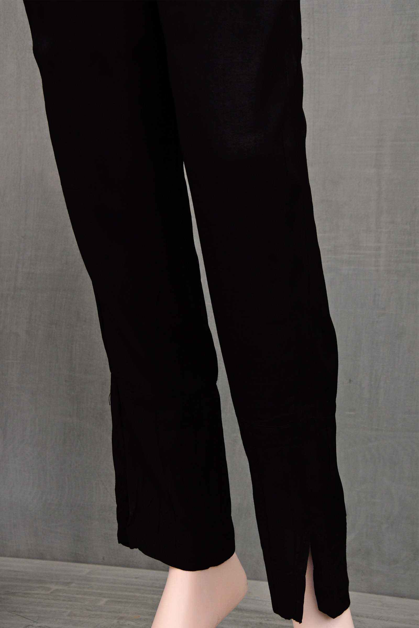 Bamboo Silk Black Assam Silk Cigarette Pant