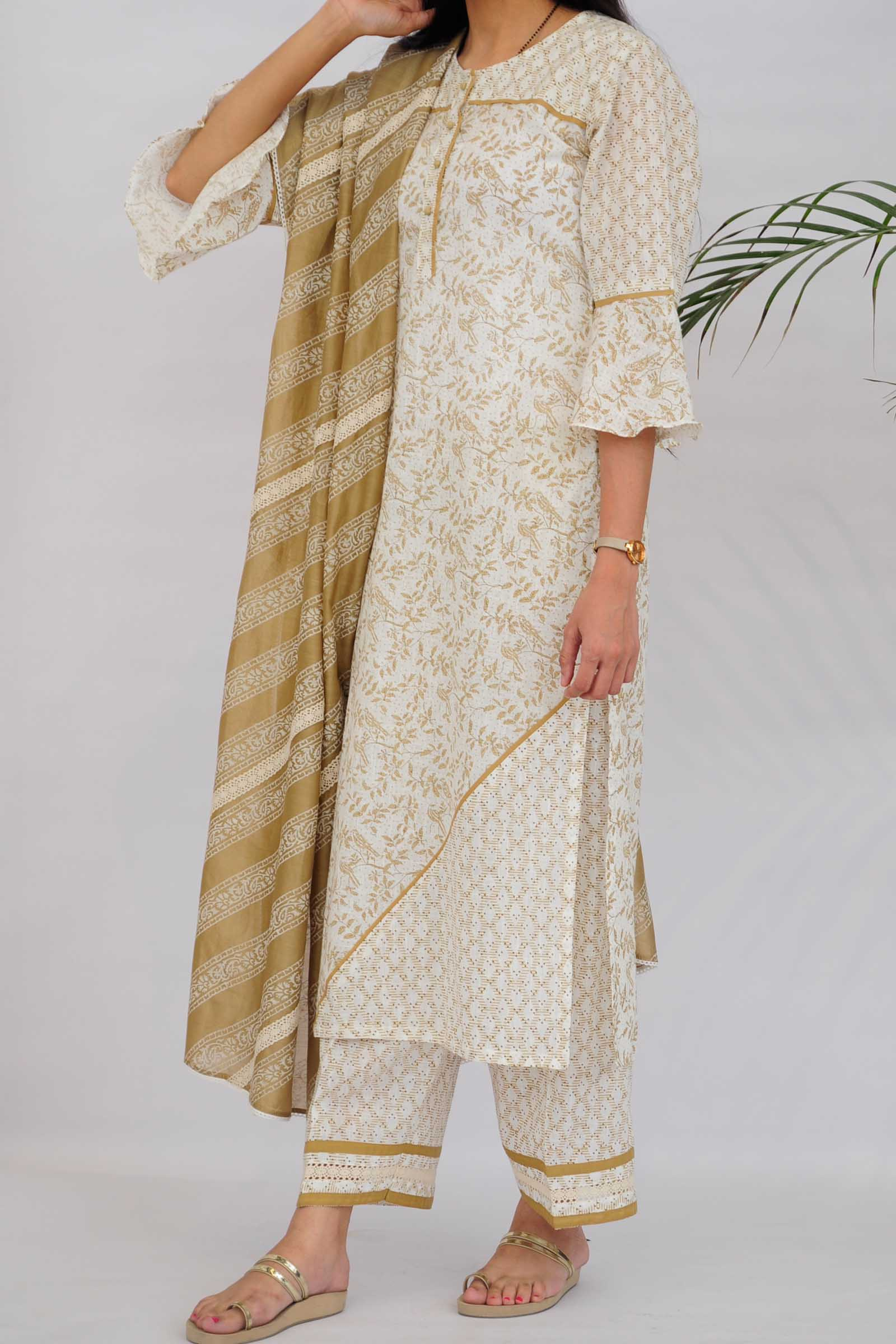 Birds In Autumn Cotton Kurta