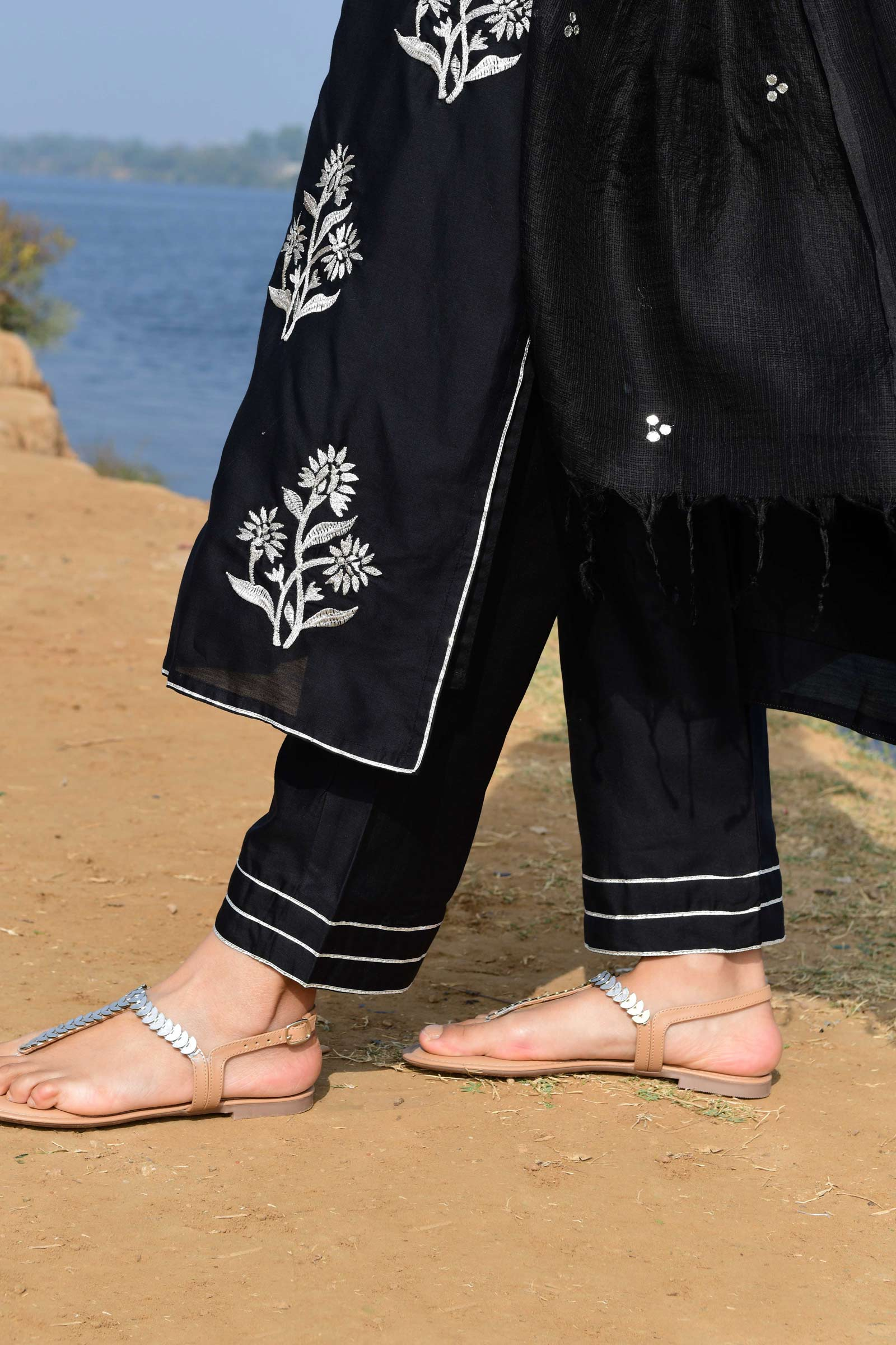 Banarsi Range Black Chanderi Cigarette Pants