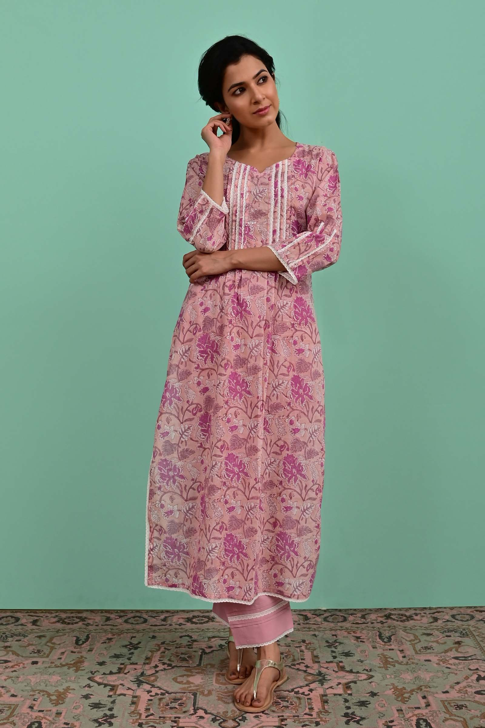Blooming Orchids Voil Kurta