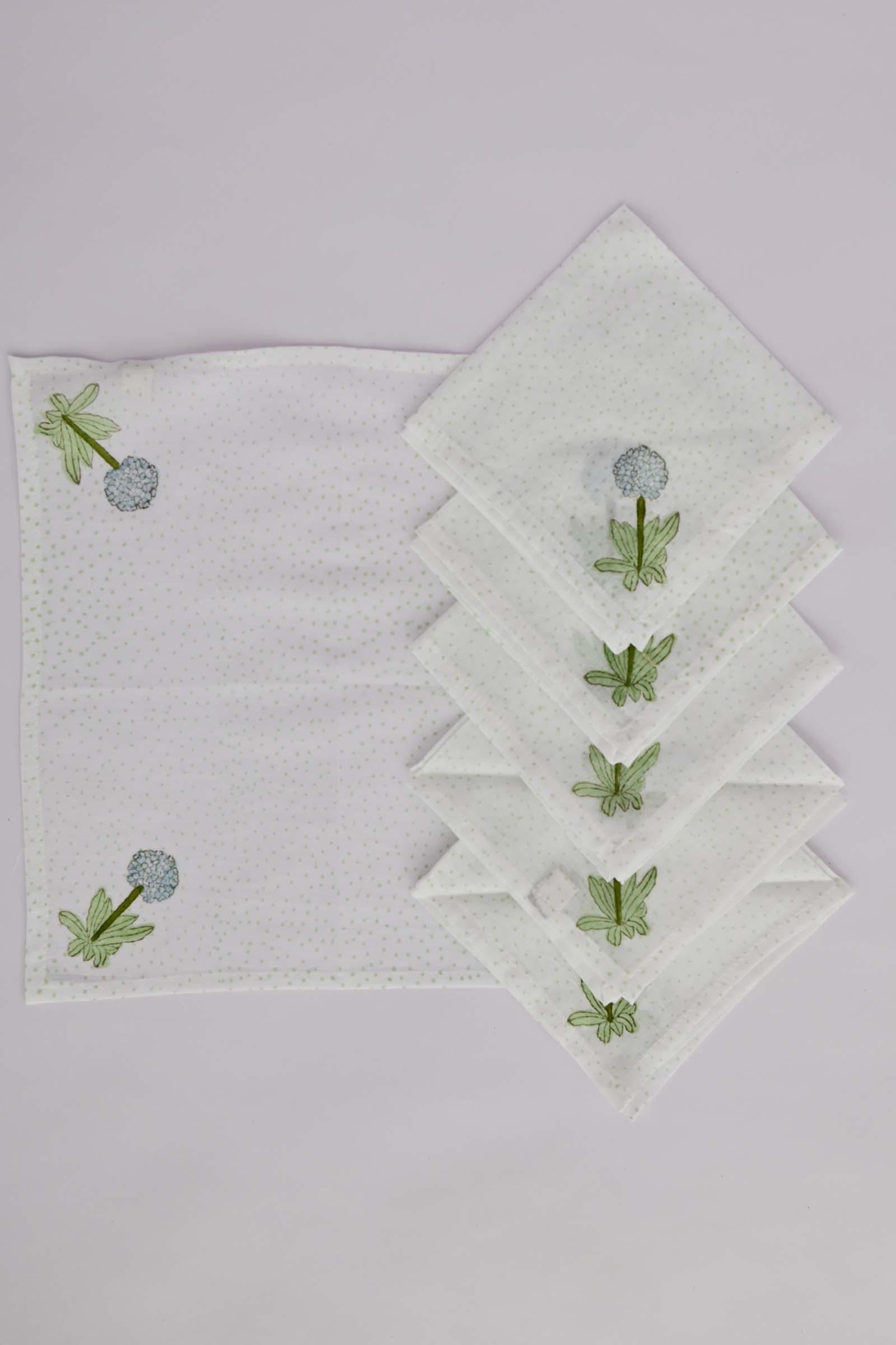Hydrangea Floral Printed Tea Napkin Set Of 6