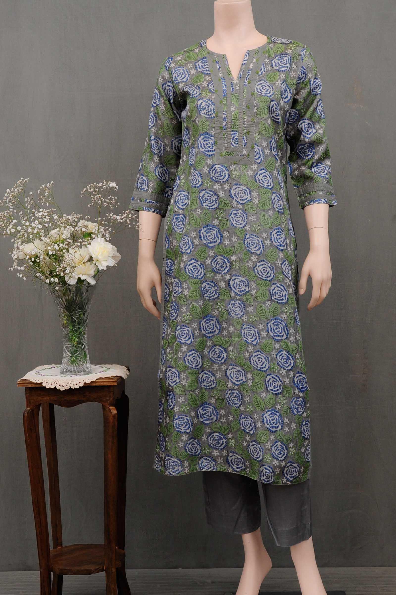 Blue Roses Silk Kurta