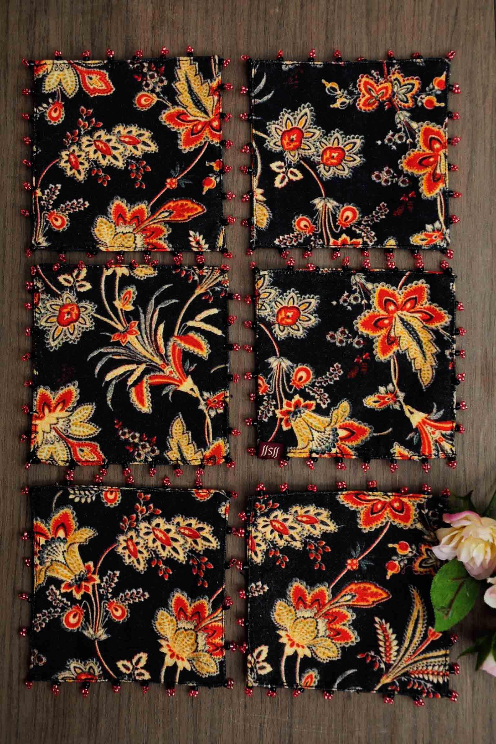 Black chintz coaster set of 6