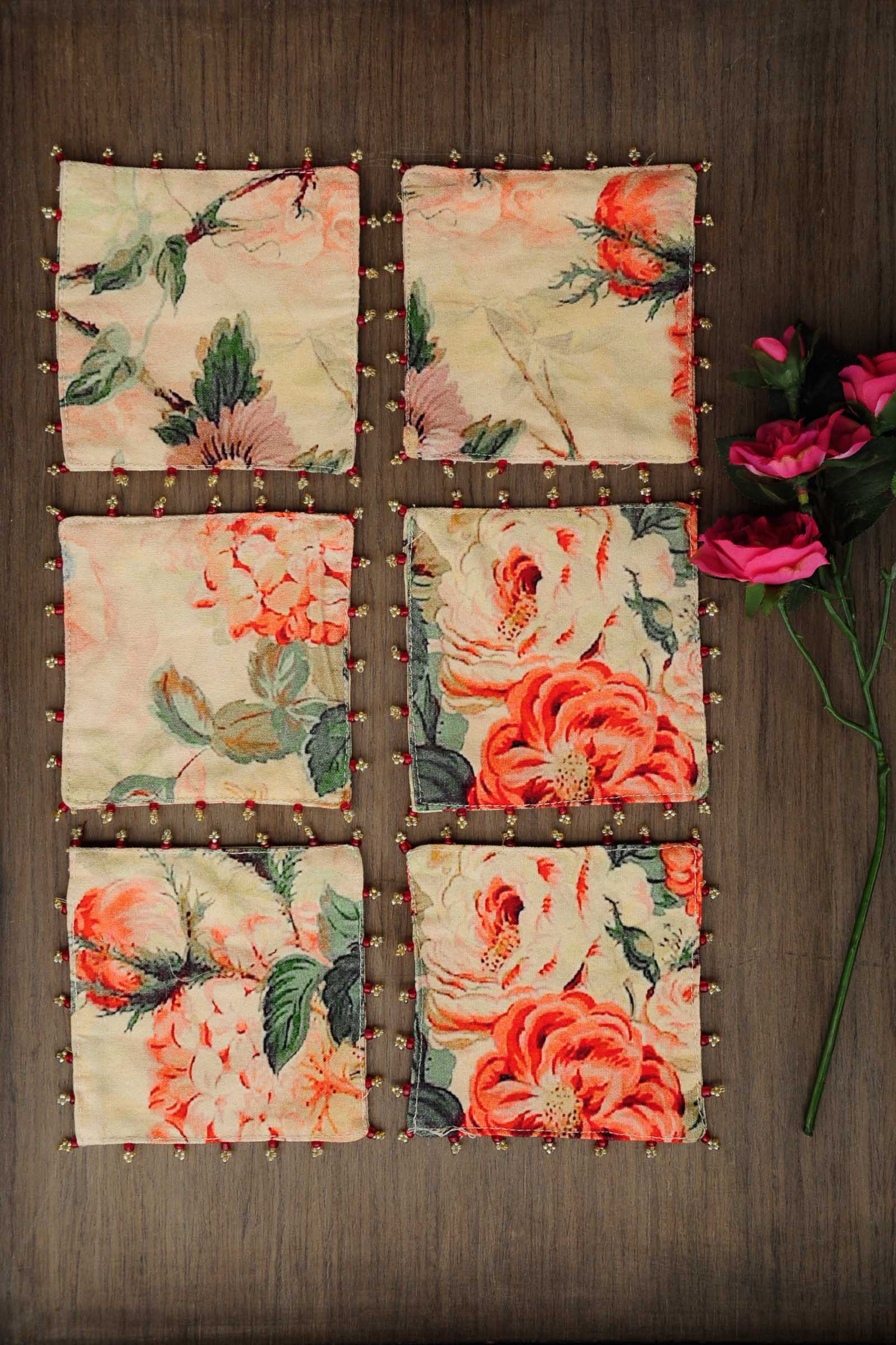 Orange Rose Chintz Coaster Set Of 6