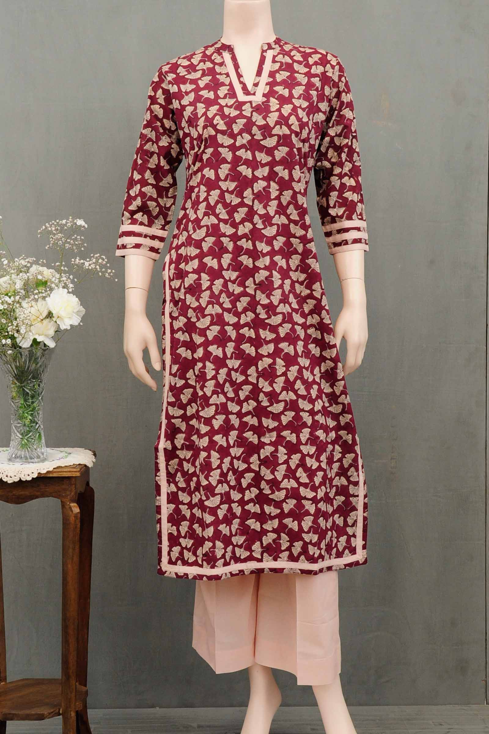 Crimson Leaf Cotton Kurta