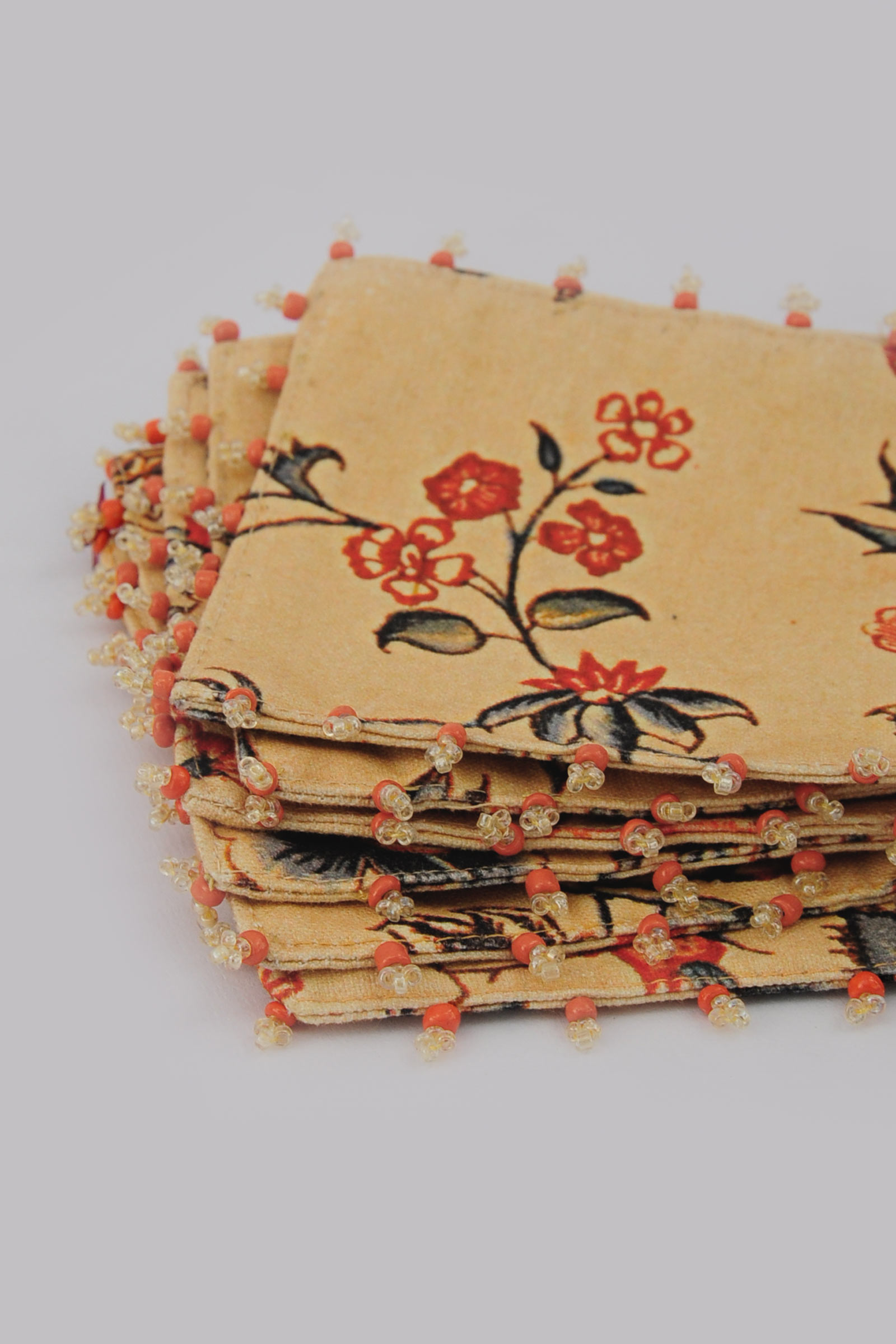 Yellow Chintz Coaster Set Of 6