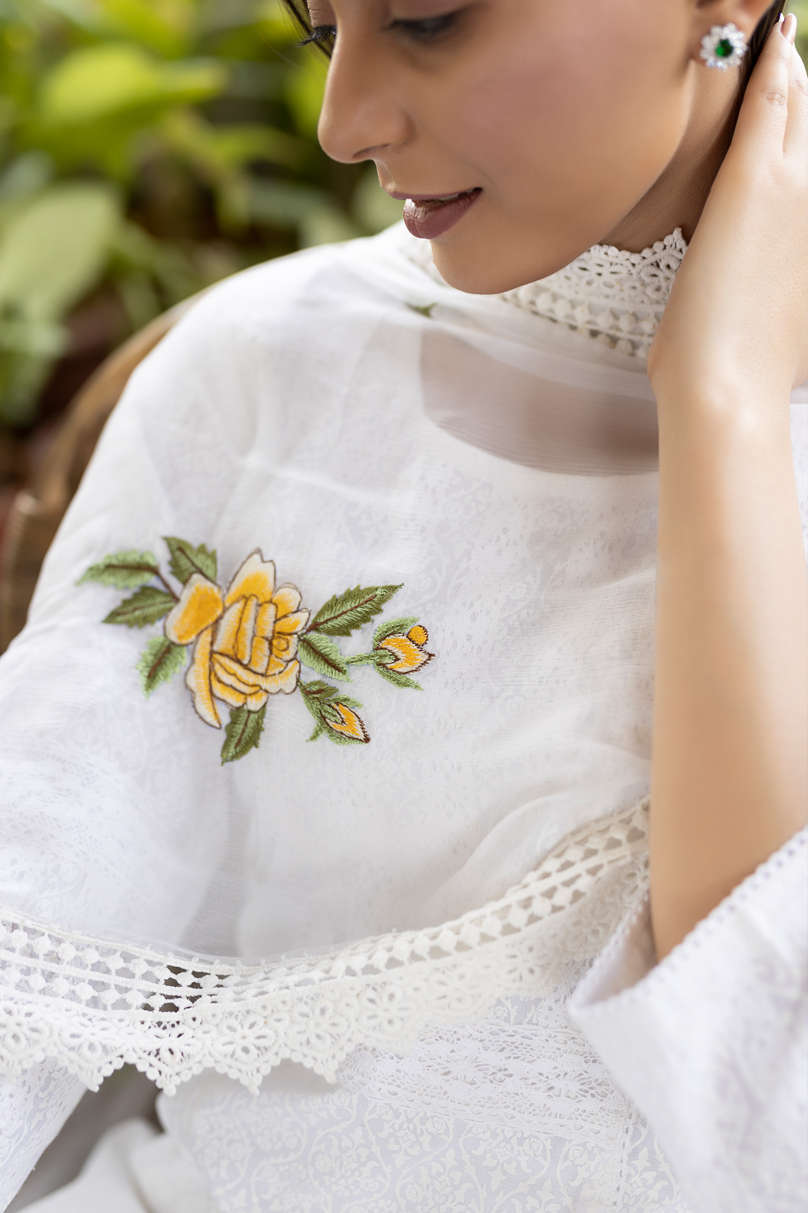 English Rose Yellow Chiffon Dupatta
