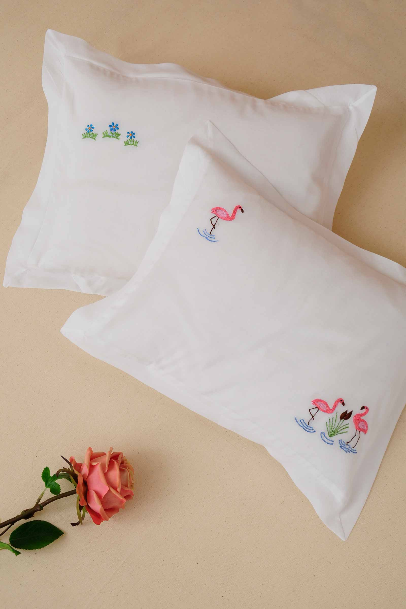 Farm house flamingo pillow cover set of 2