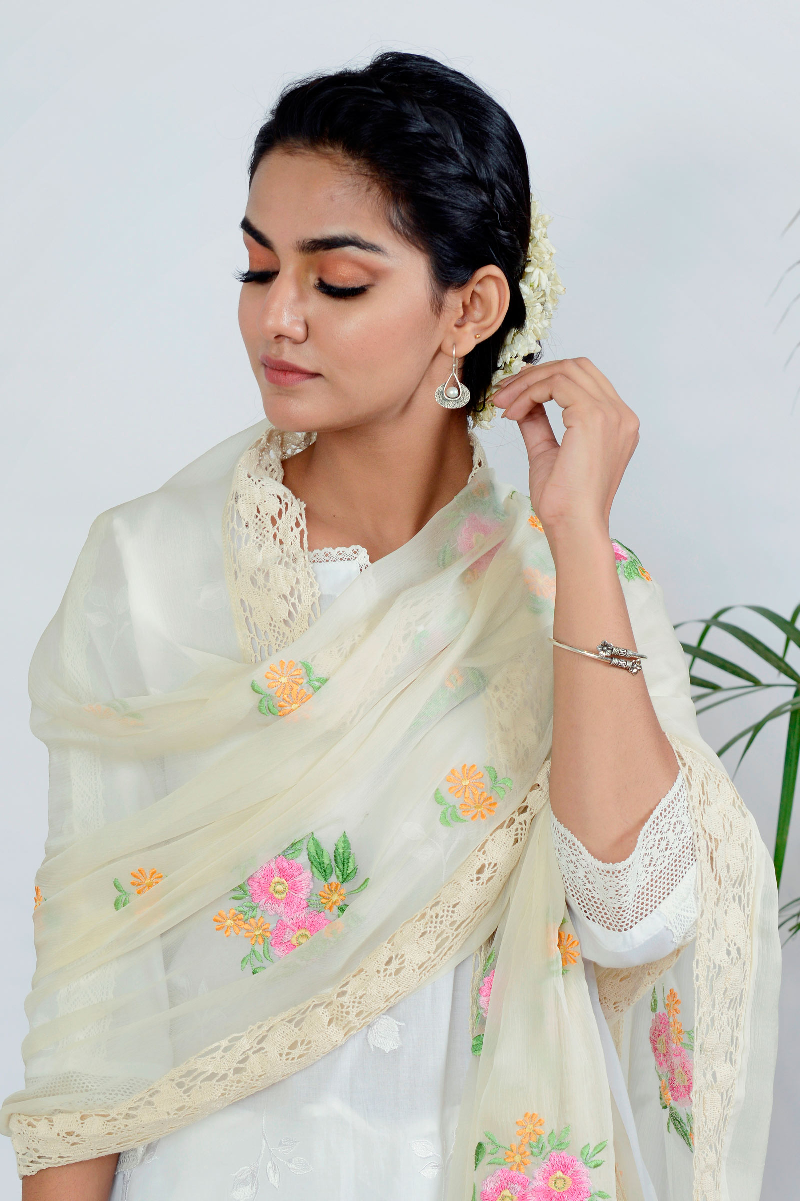 French Floral Pink Dupatta