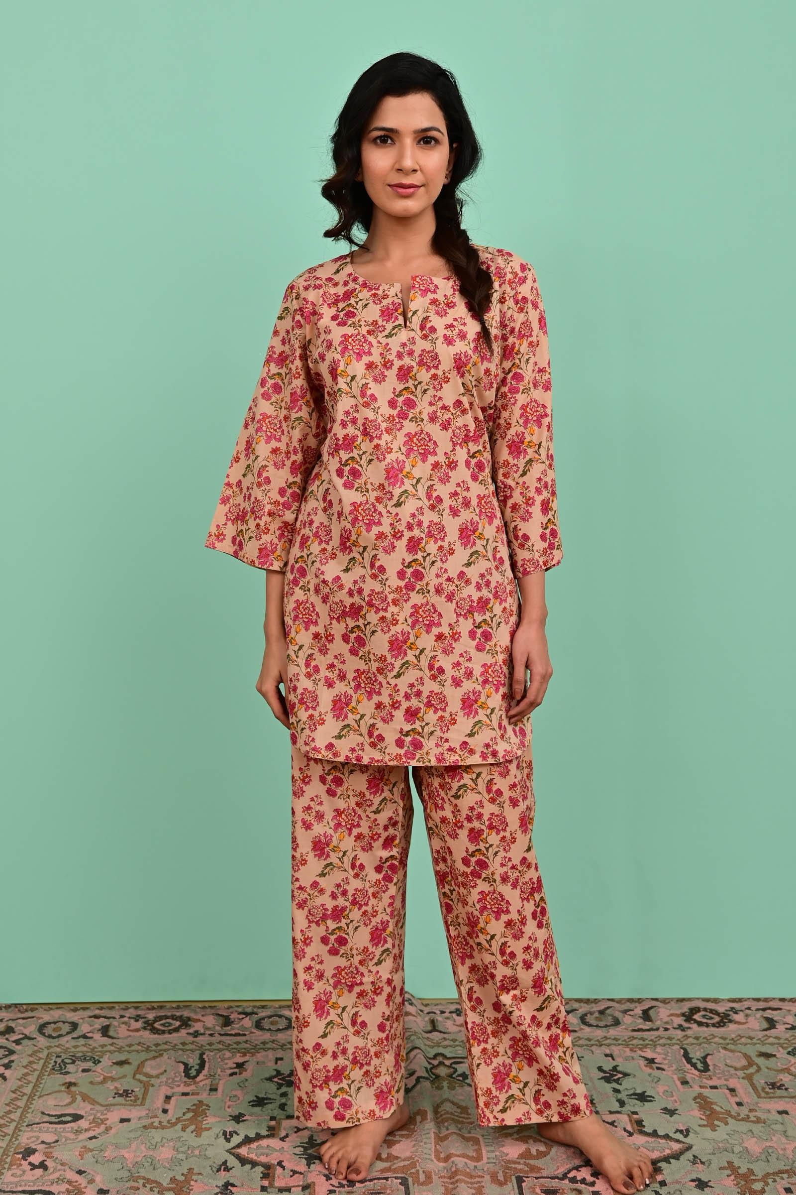 Fuchsia Land Cotton Night Suit
