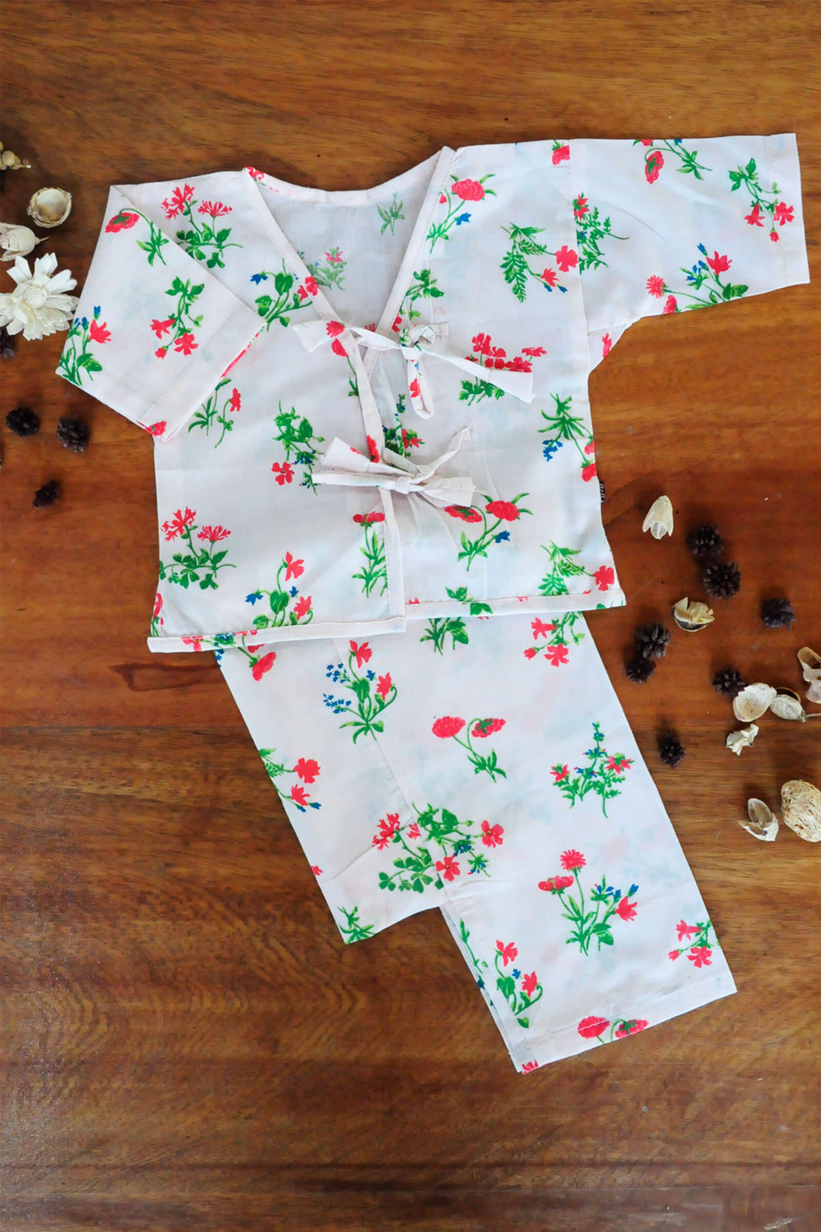 Floral White Baby Set