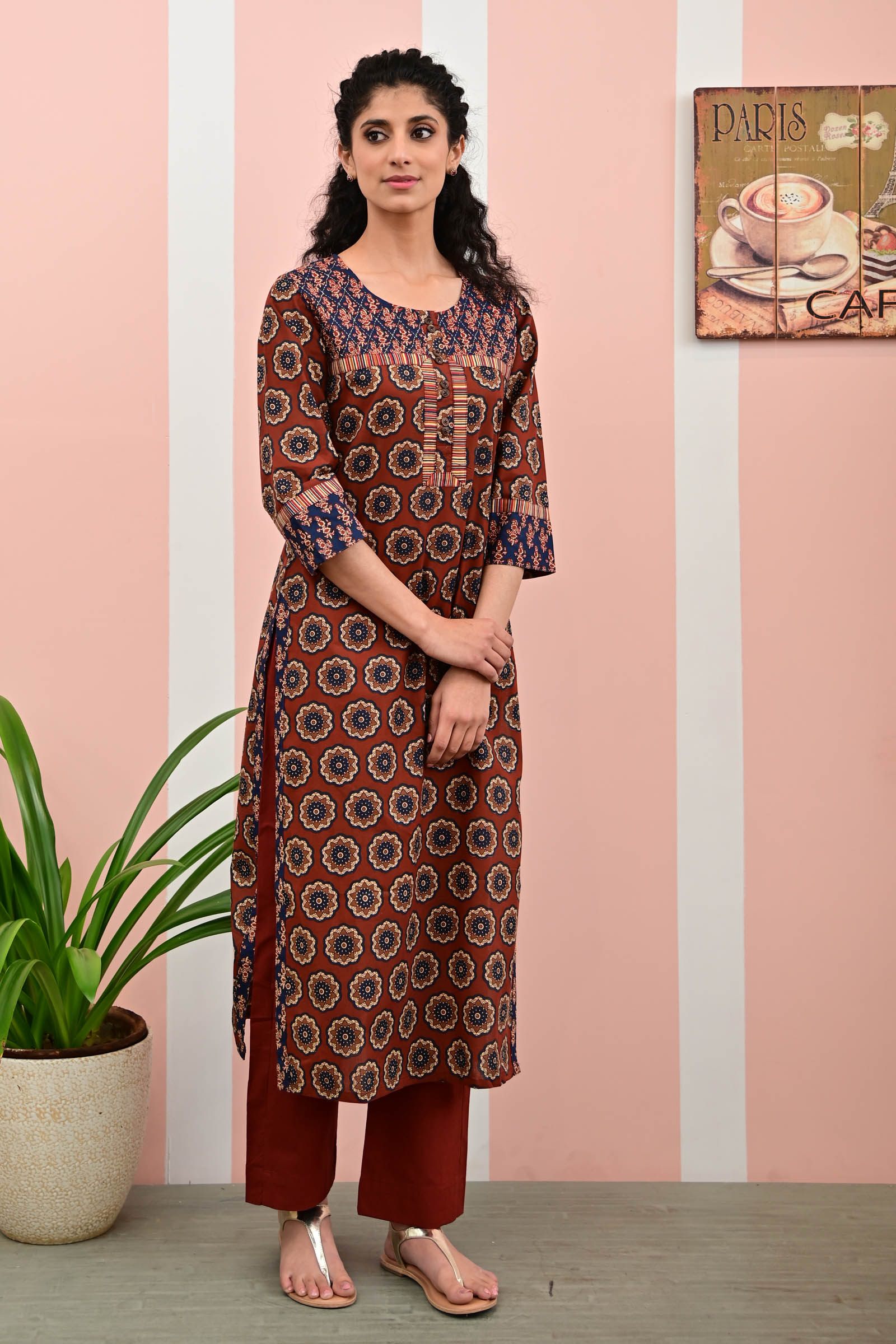 Garnet Glow Cotton Kurta