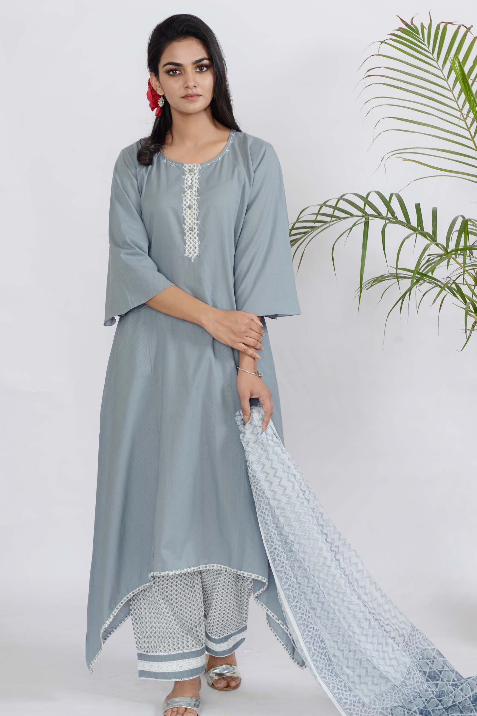Grey Flakes Cotton Kurta