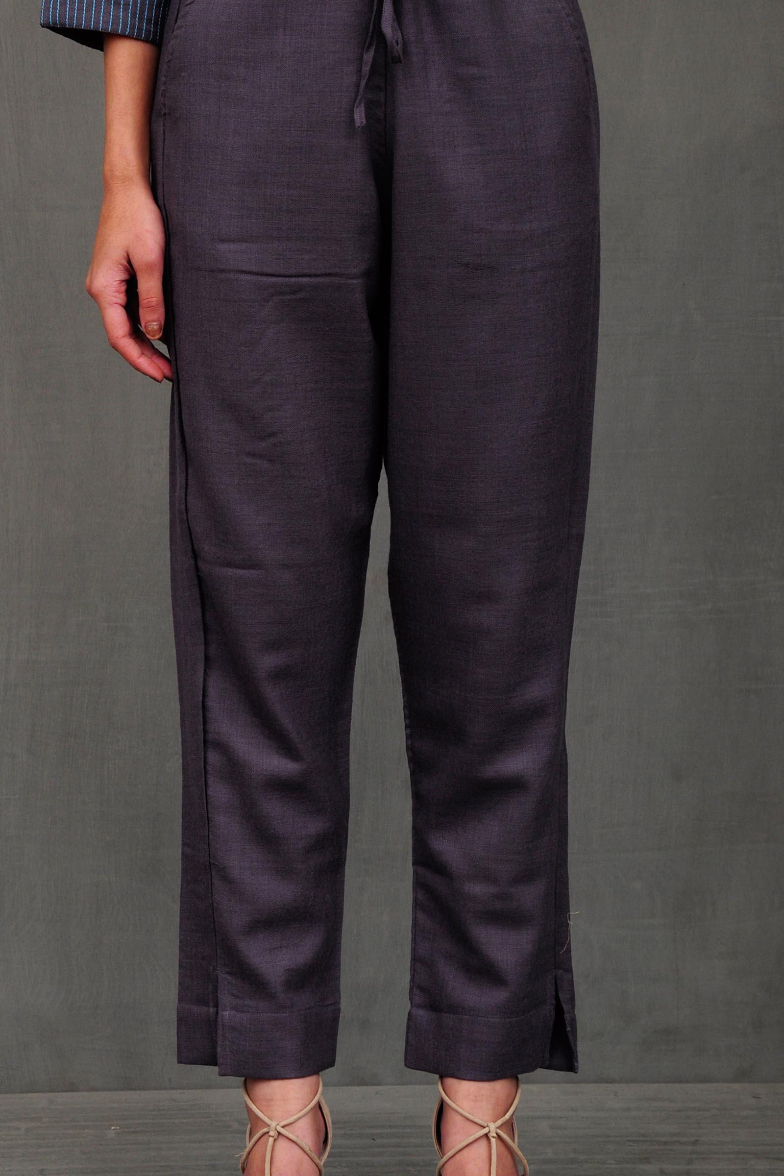 Icy Grey Woolen Cigarette Pant