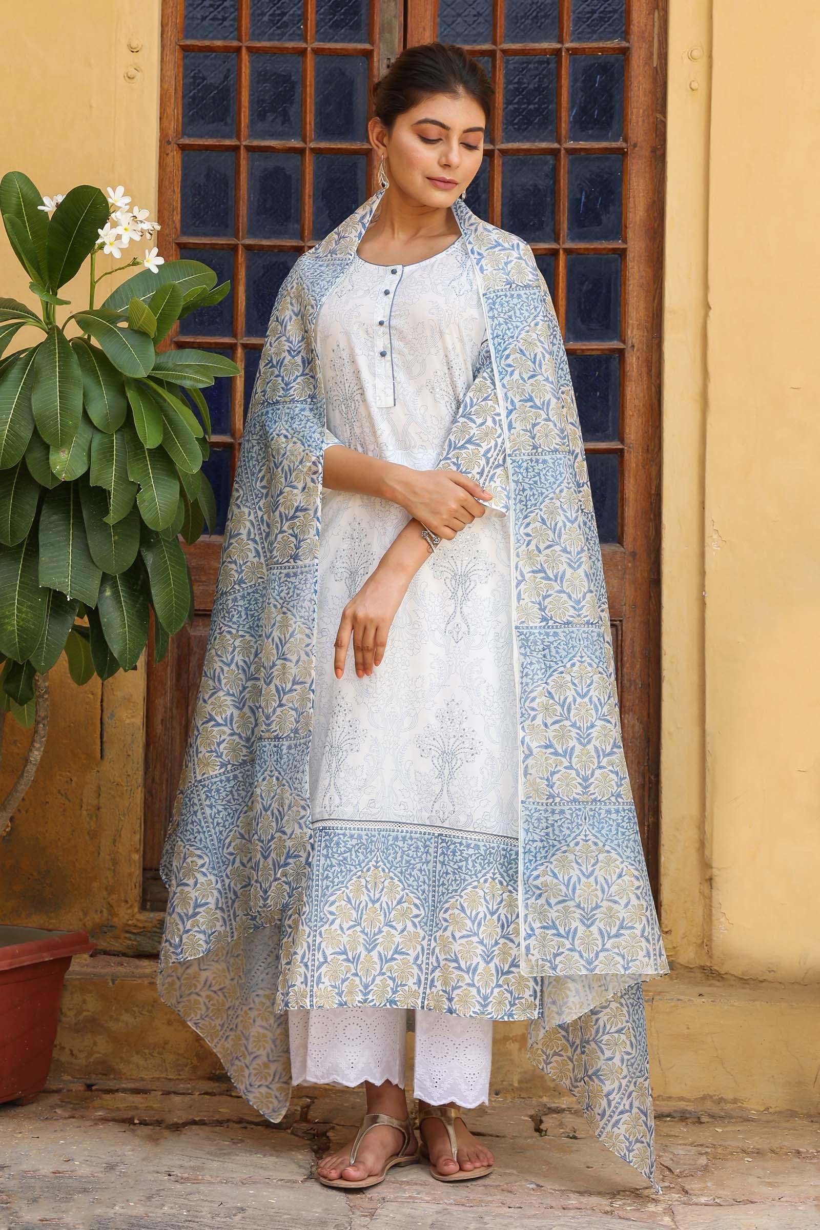 Noor-E-Neelam Chanderi Dupatta