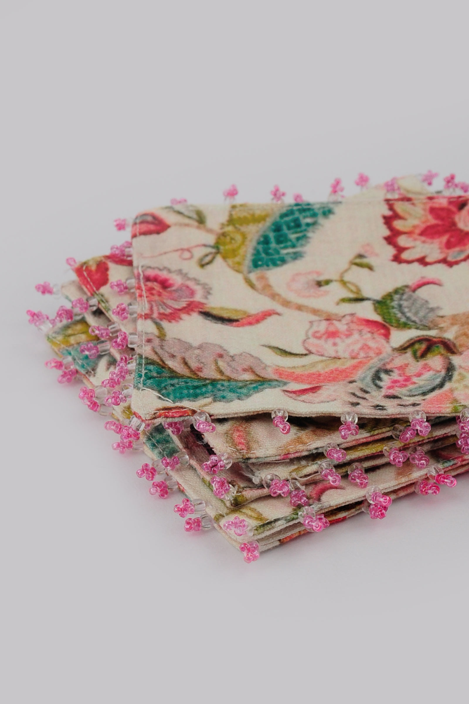 Light Pink Chintz Coaster Set Of 6