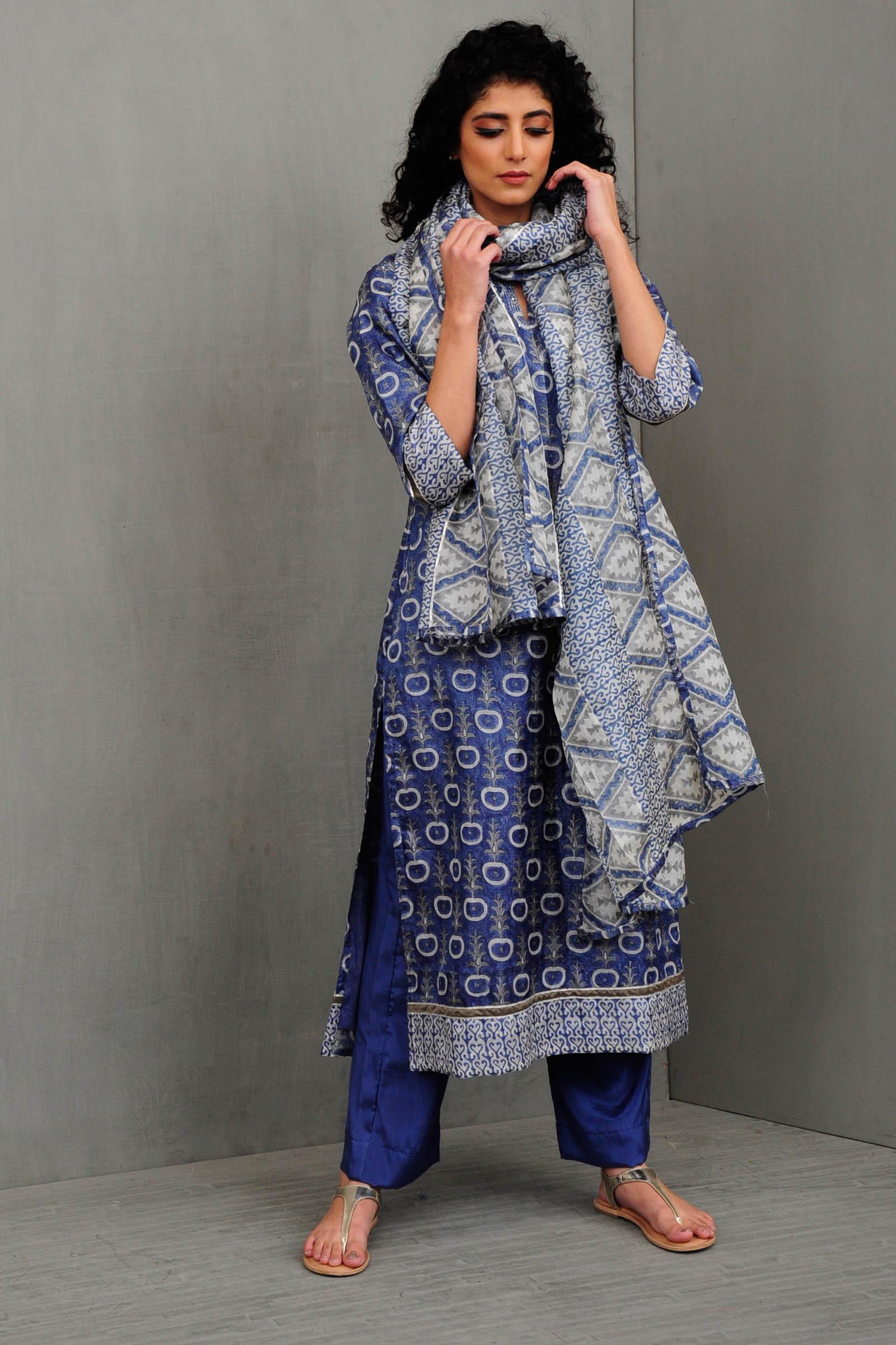 Mandarin Blue Silk Kurta