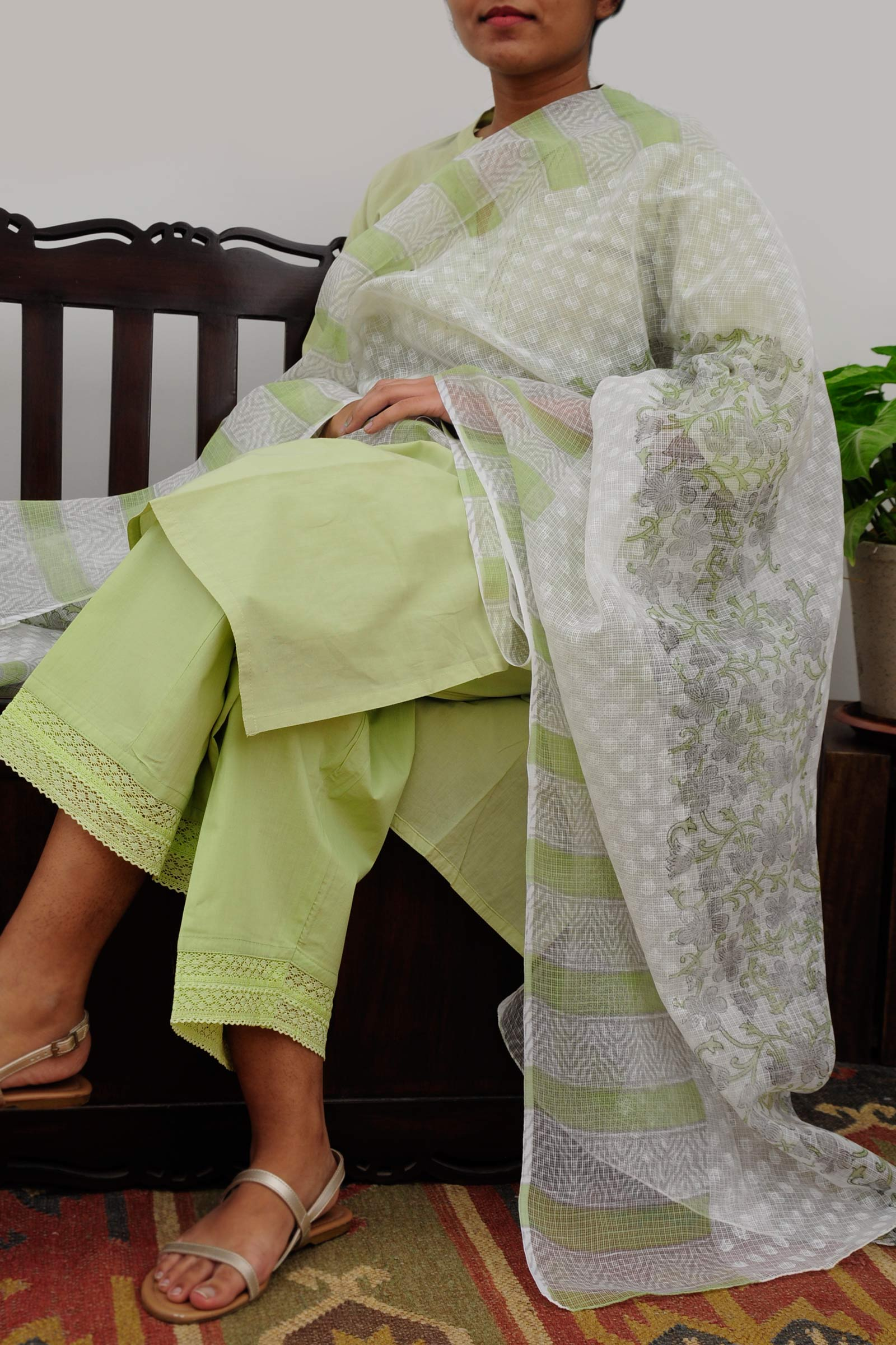 Bamboo Green Cotton Kurta
