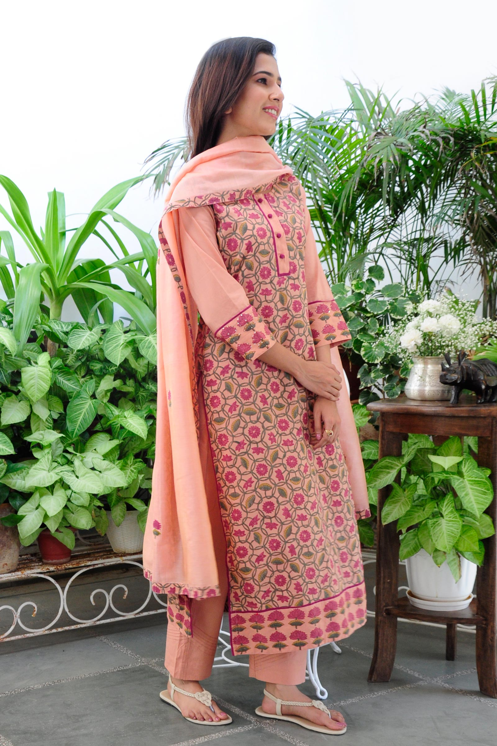 Peach Vacation Cotton Kurta