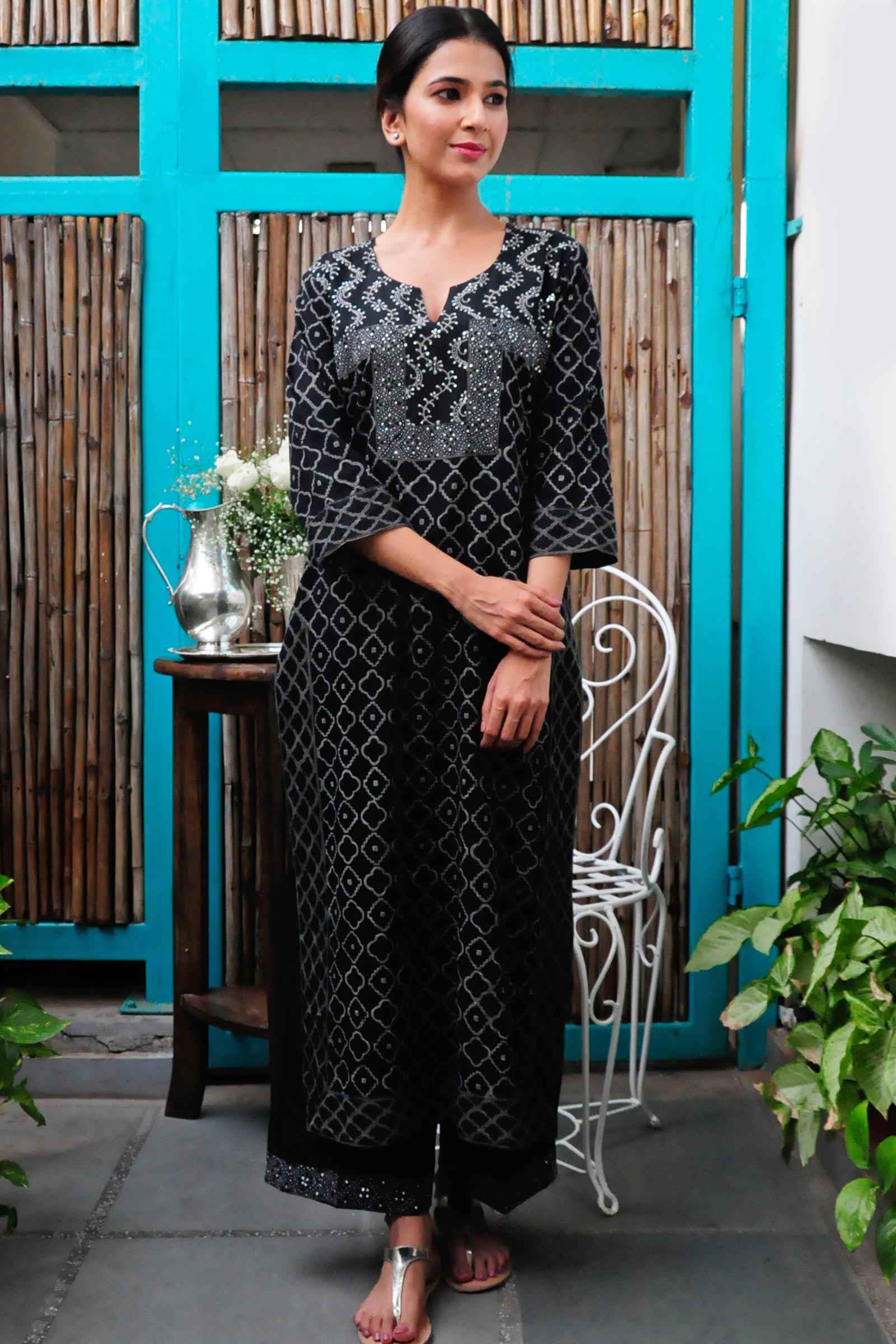 Black Diamond Bagru Kurta