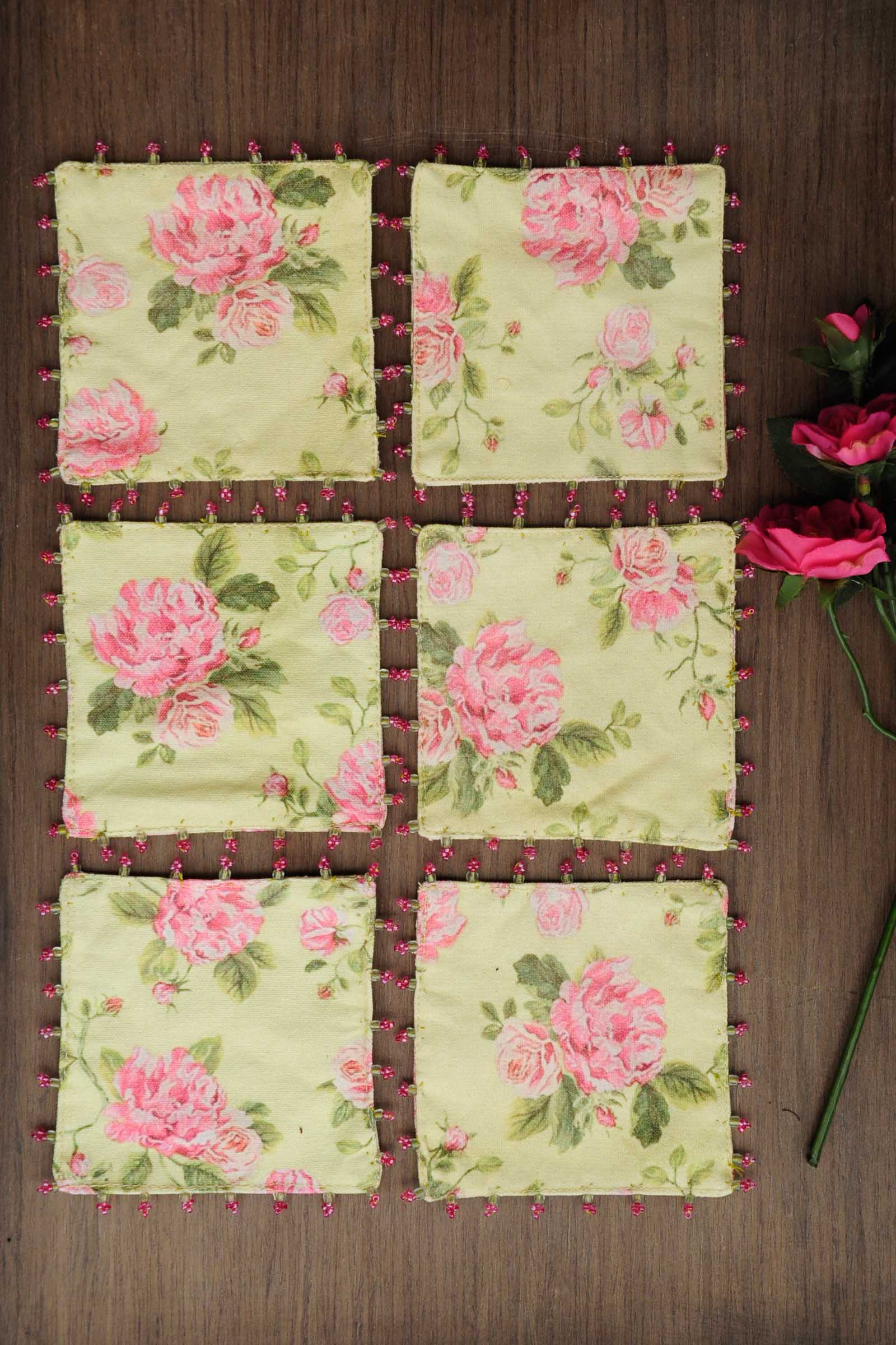 Rose Mojito Chintz Coaster Set Of 6