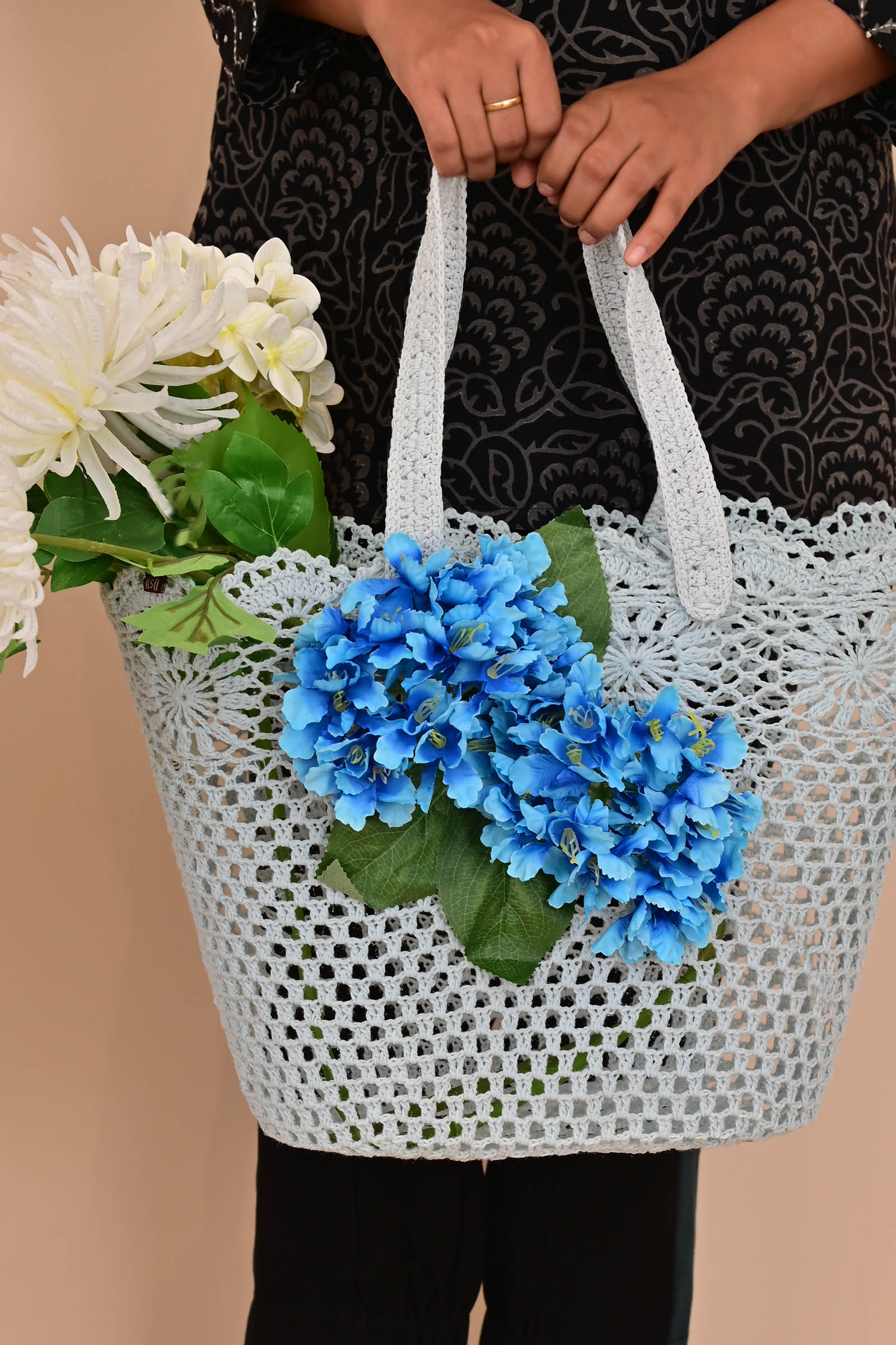 Blue Flower lace basket