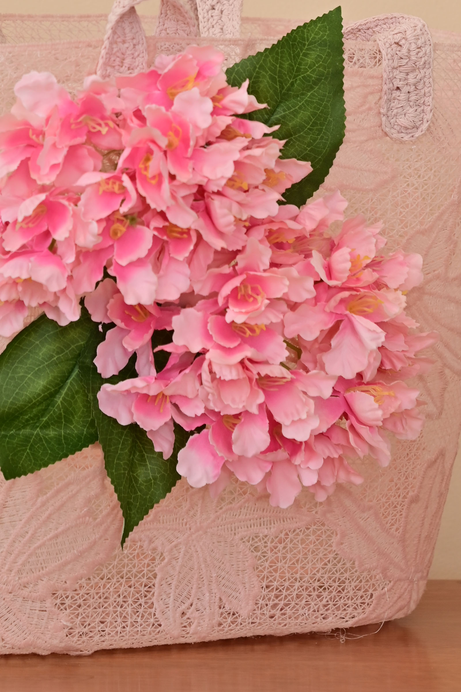 Pink Flowers Lace Basket