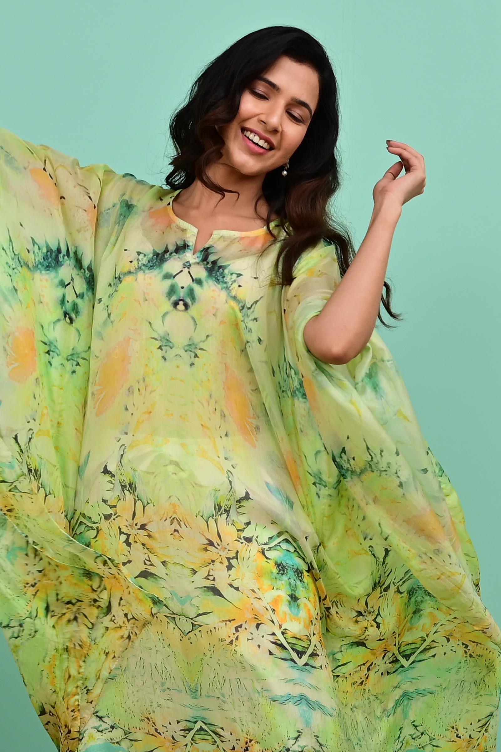 Lime Silk Kaftan