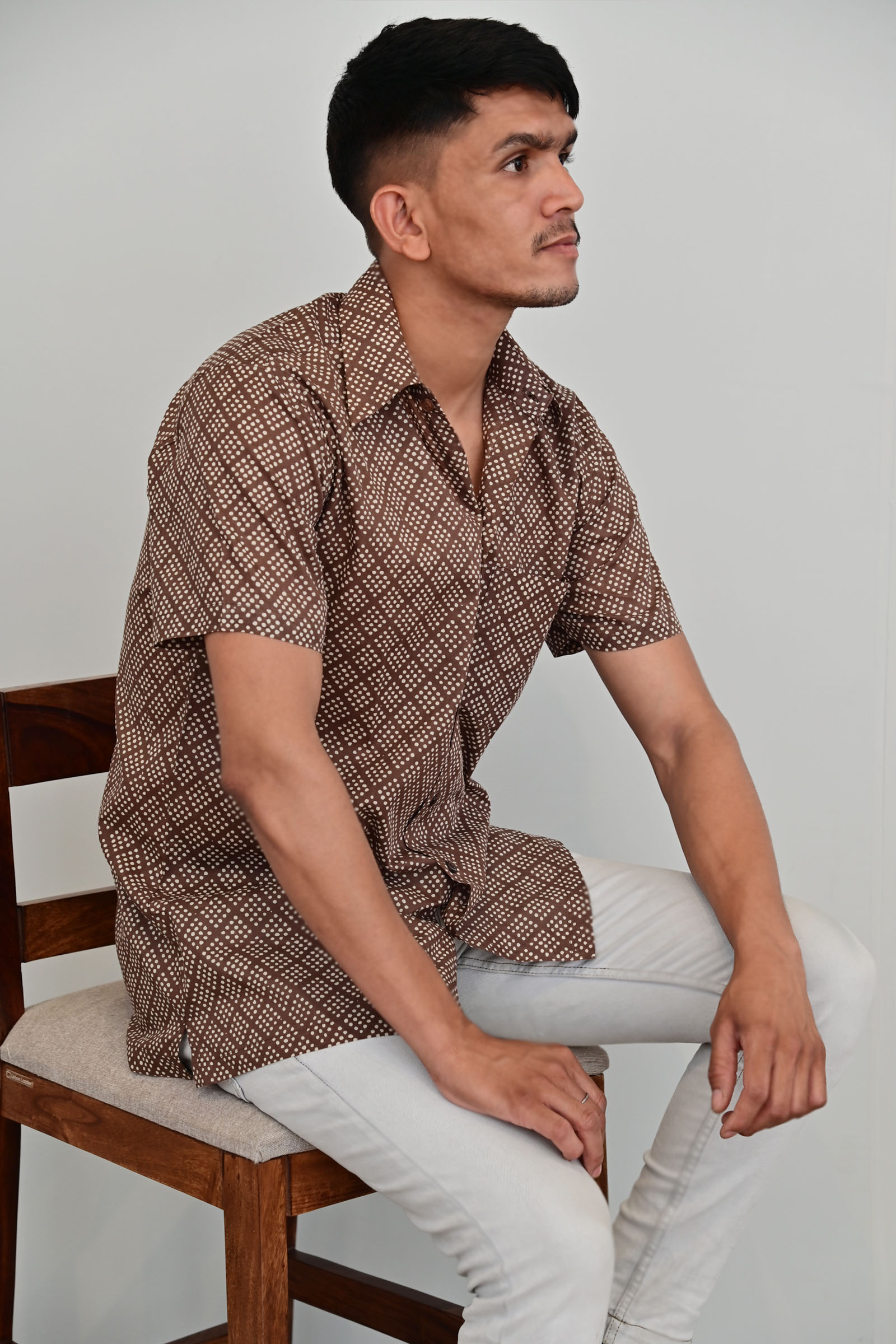 Spot Diamond Mocha Shirt H/S